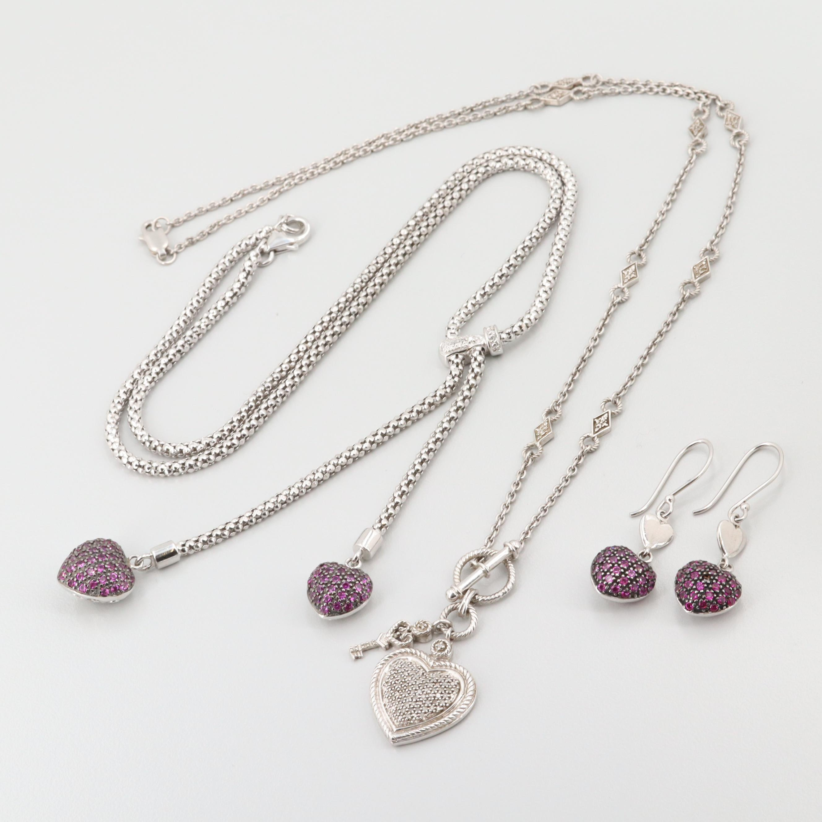 Sterling Silver Synthetic Ruby and Diamond Necklaces and Earrings