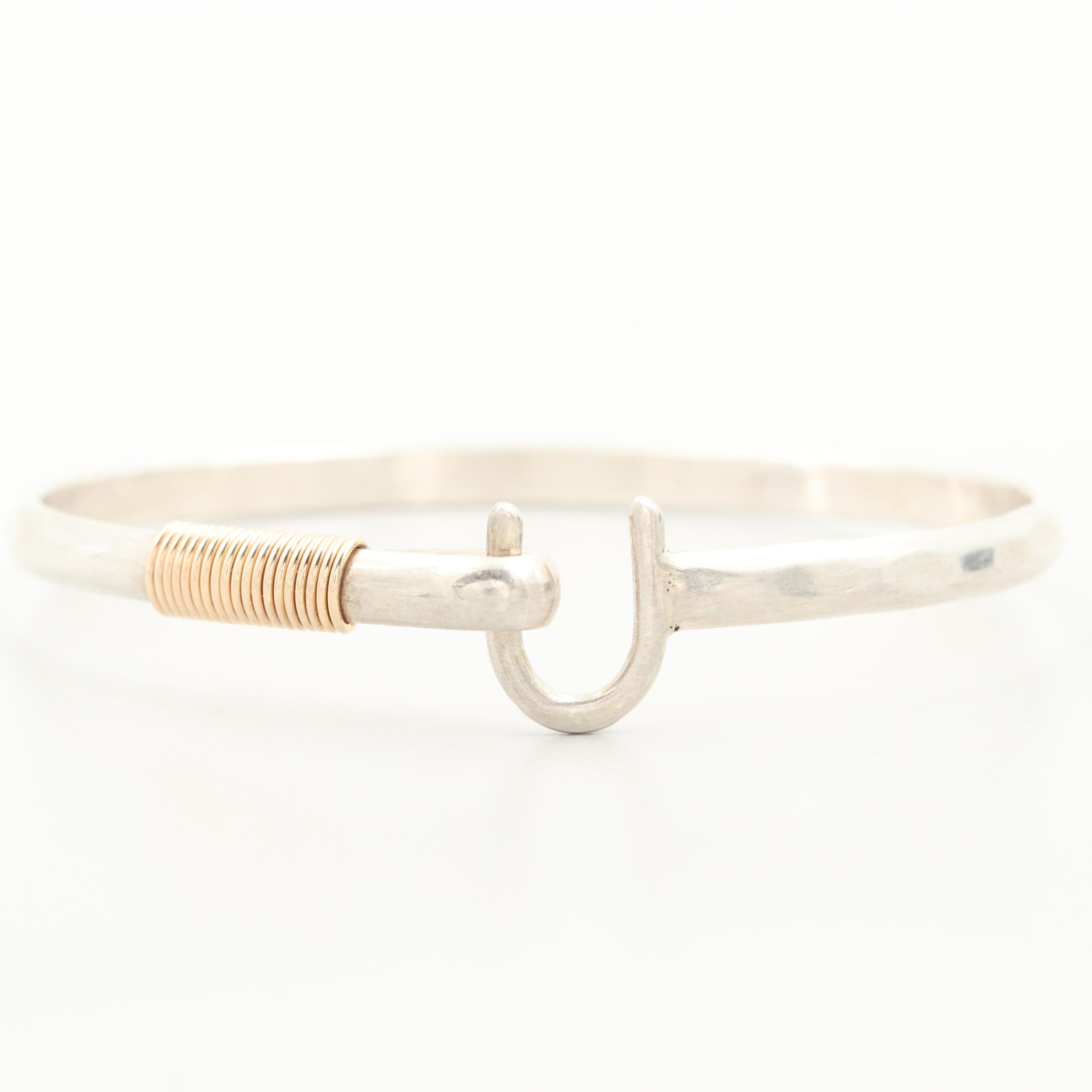 """Sterling Silver """"Sonya Ltd Hook Bracelet"""" with Yellow Gold Accents"""