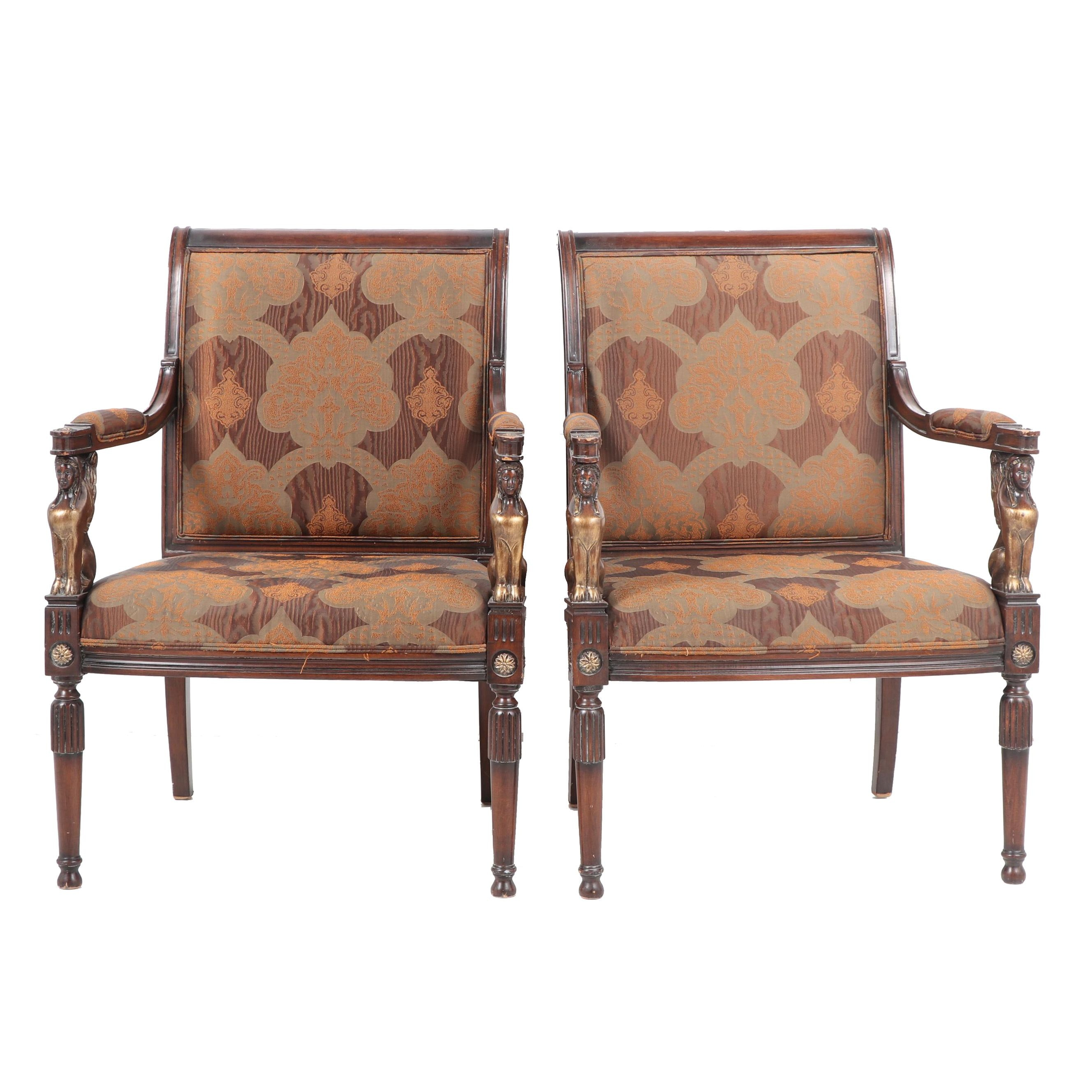 Pair of French Empire Style Upholstered Wooden Armchairs, Late 20th Century