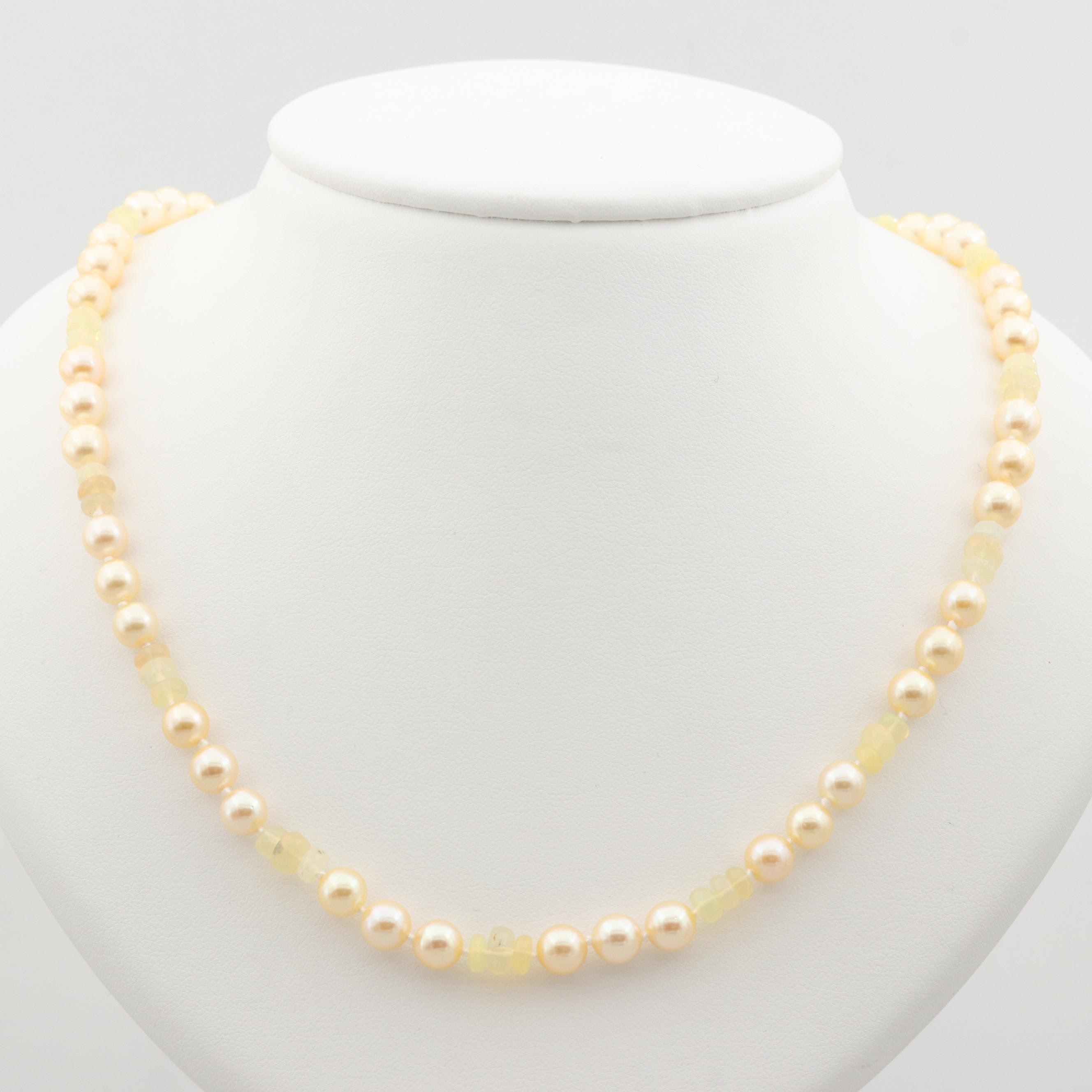 14K Yellow Gold Cultured Pearl and Opal Beaded Necklace