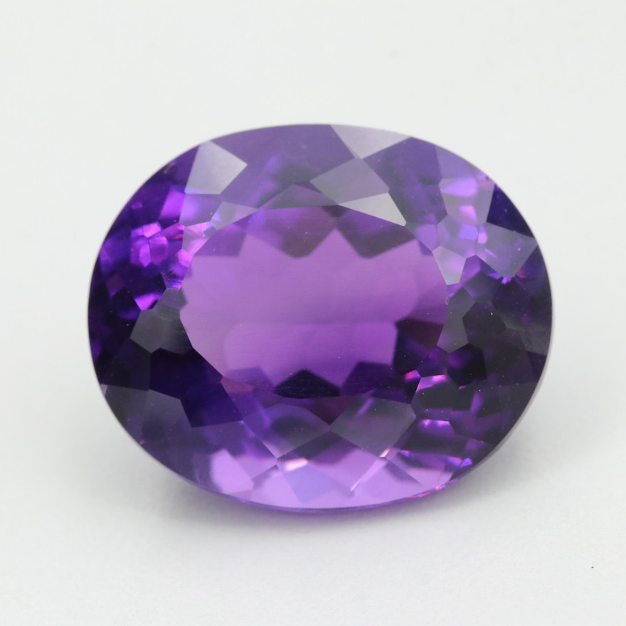 Loose 32.15 CT Oval Faceted Amethyst Gemstone