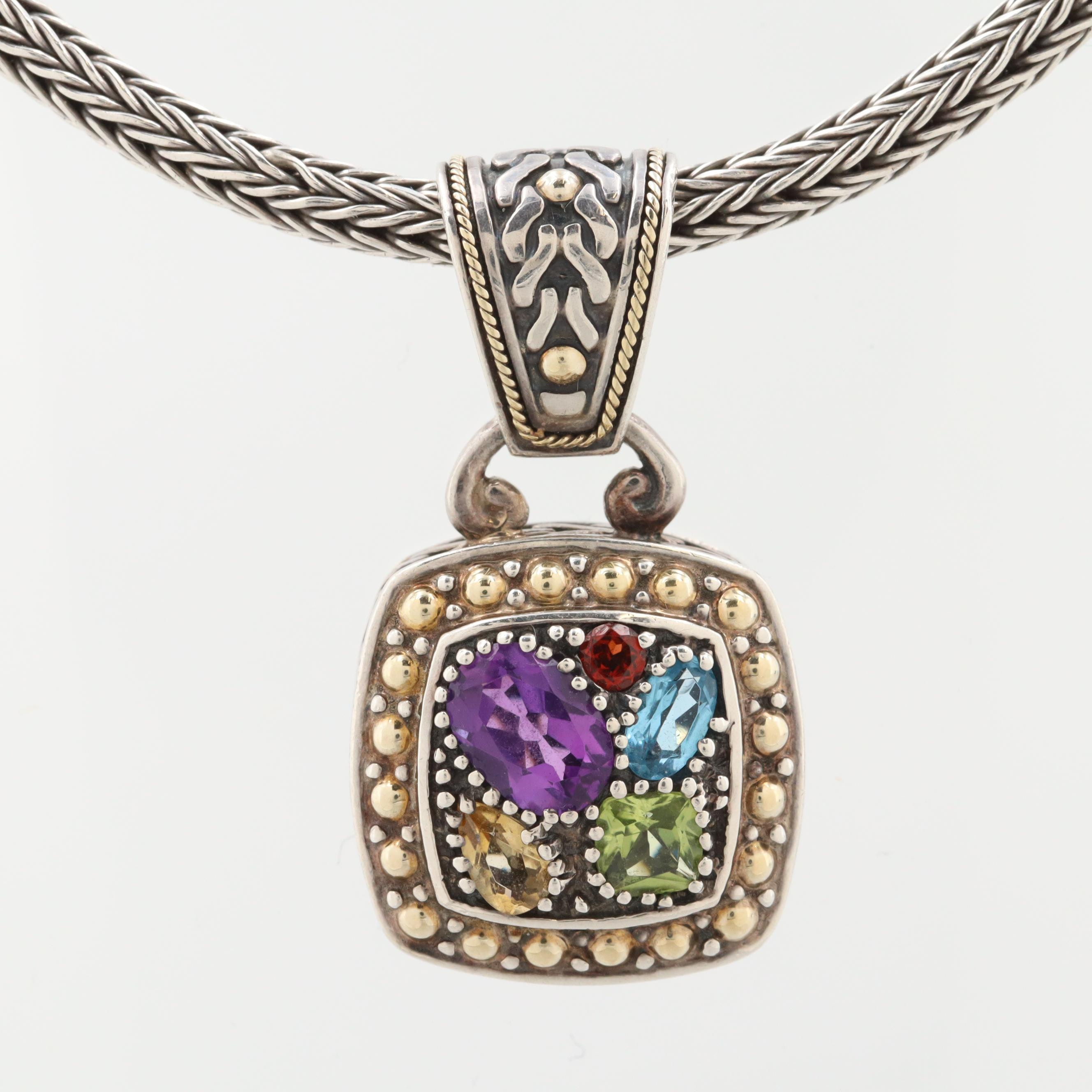 """Effy """"Balissima"""" Sterling Gemstone Pendant Necklace with 18K Yellow Gold Accents"""