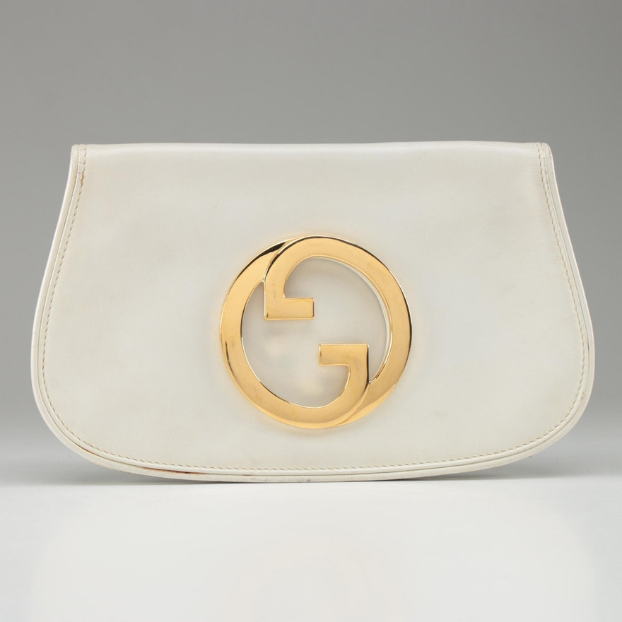Gucci Blondie Clutch in White Leather, 1970s Vintage