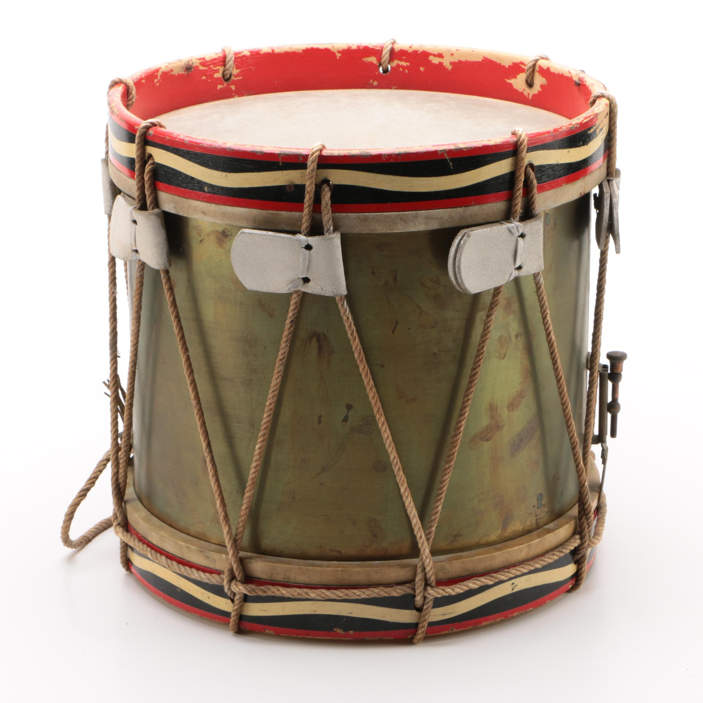 British Regimental Style Rope-Tension Side Drum, Early 20th Century