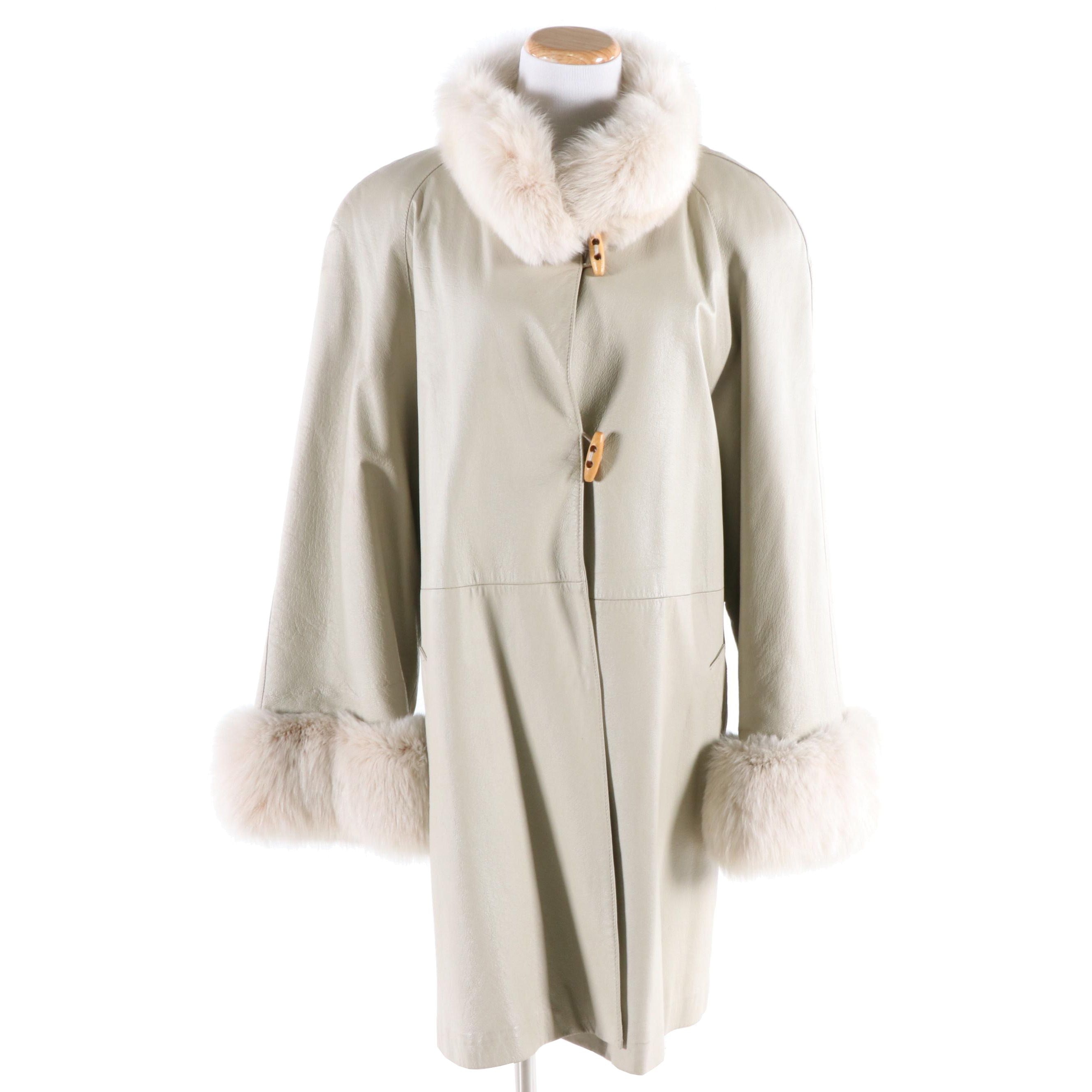 Henig Furs Oyster Leather Swing Coat with Fox Collar and Cuffs