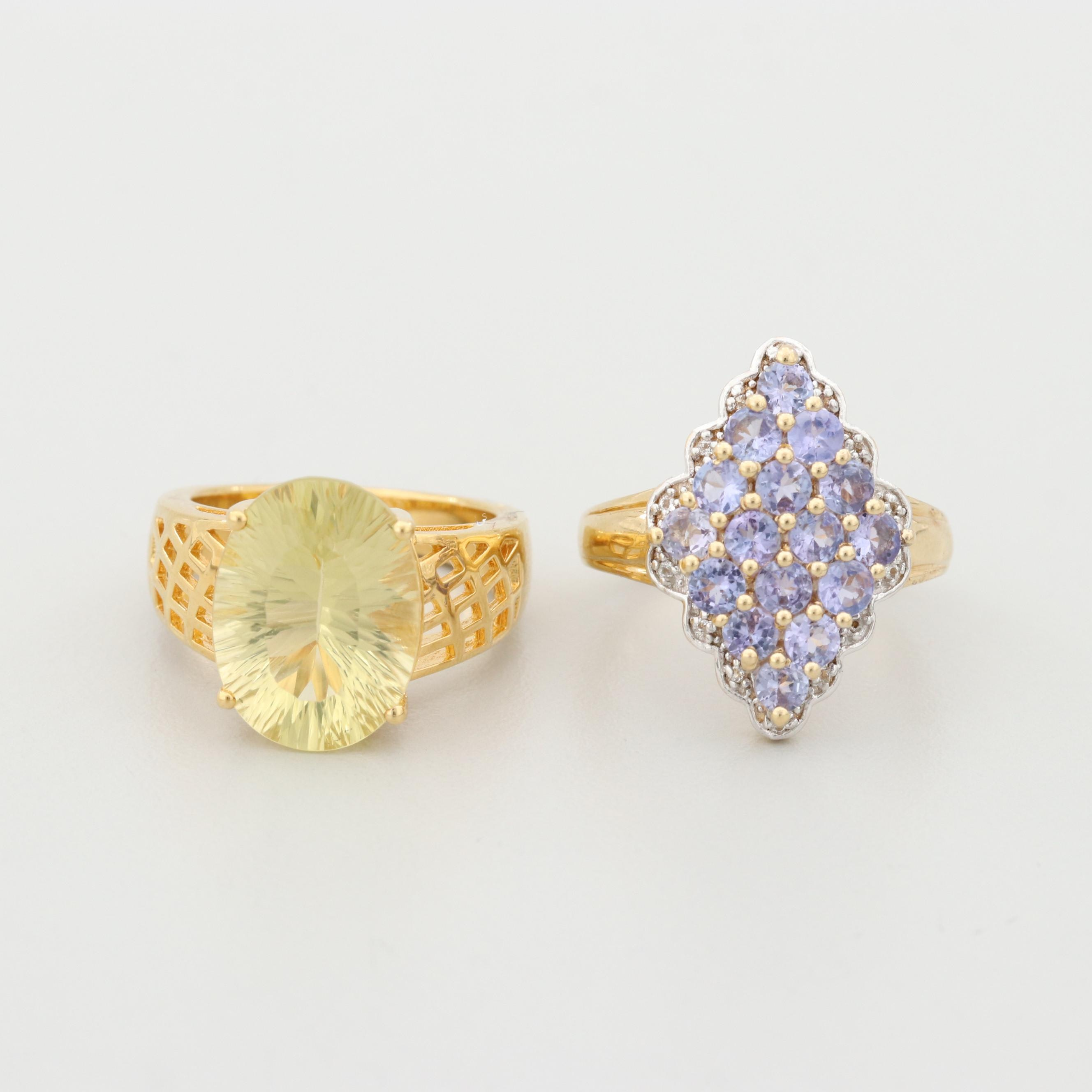 Gold Wash on Sterling Silver Citrine and Tanzanite Rings