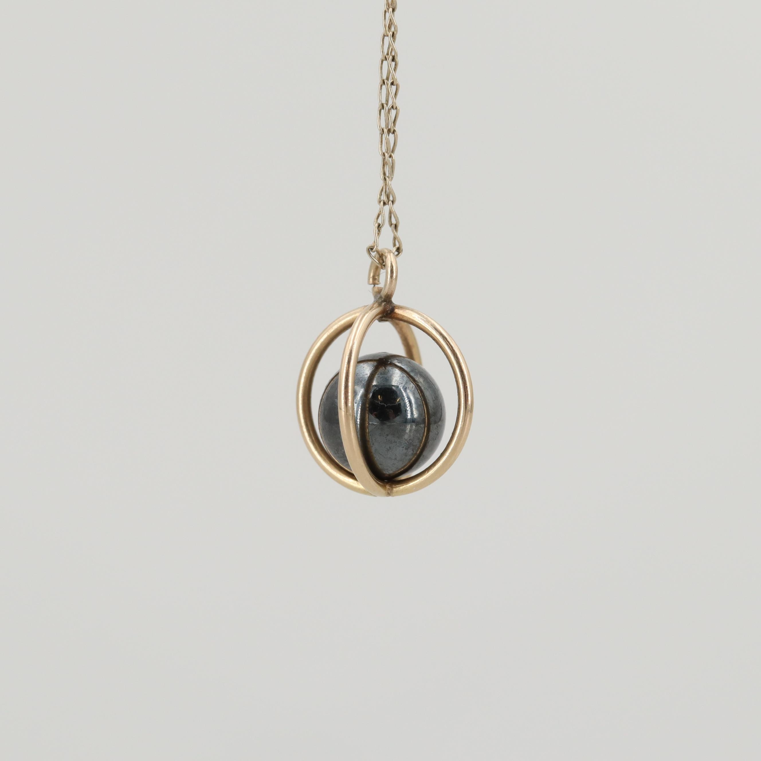 14K Yellow Gold Imitation Hematite Necklace