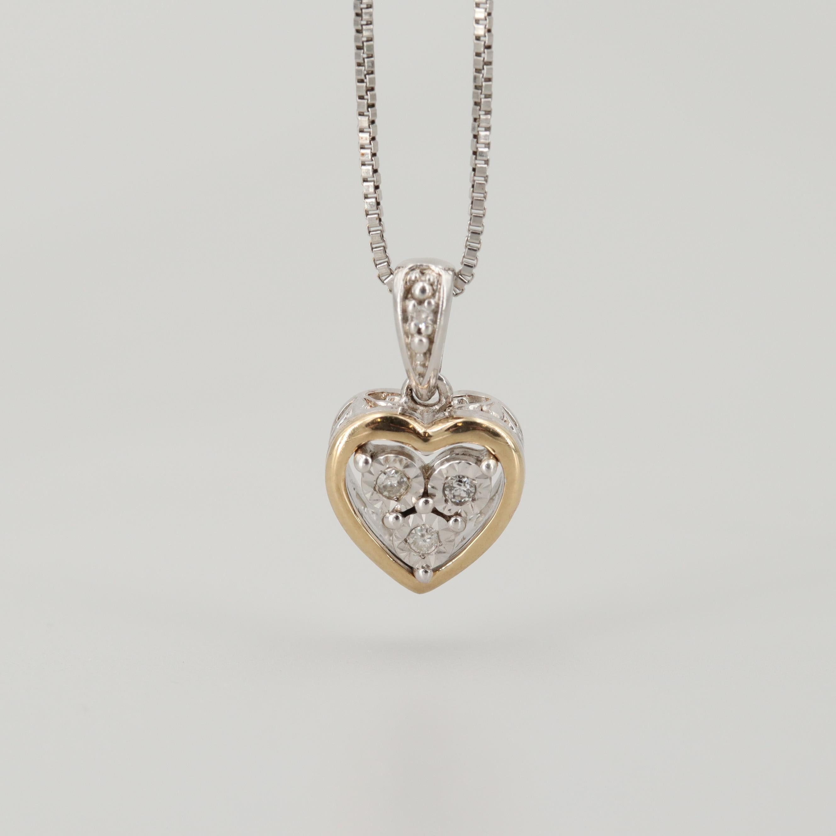Sterling Silver Diamond Pendant Necklace with 10K White Gold Accents