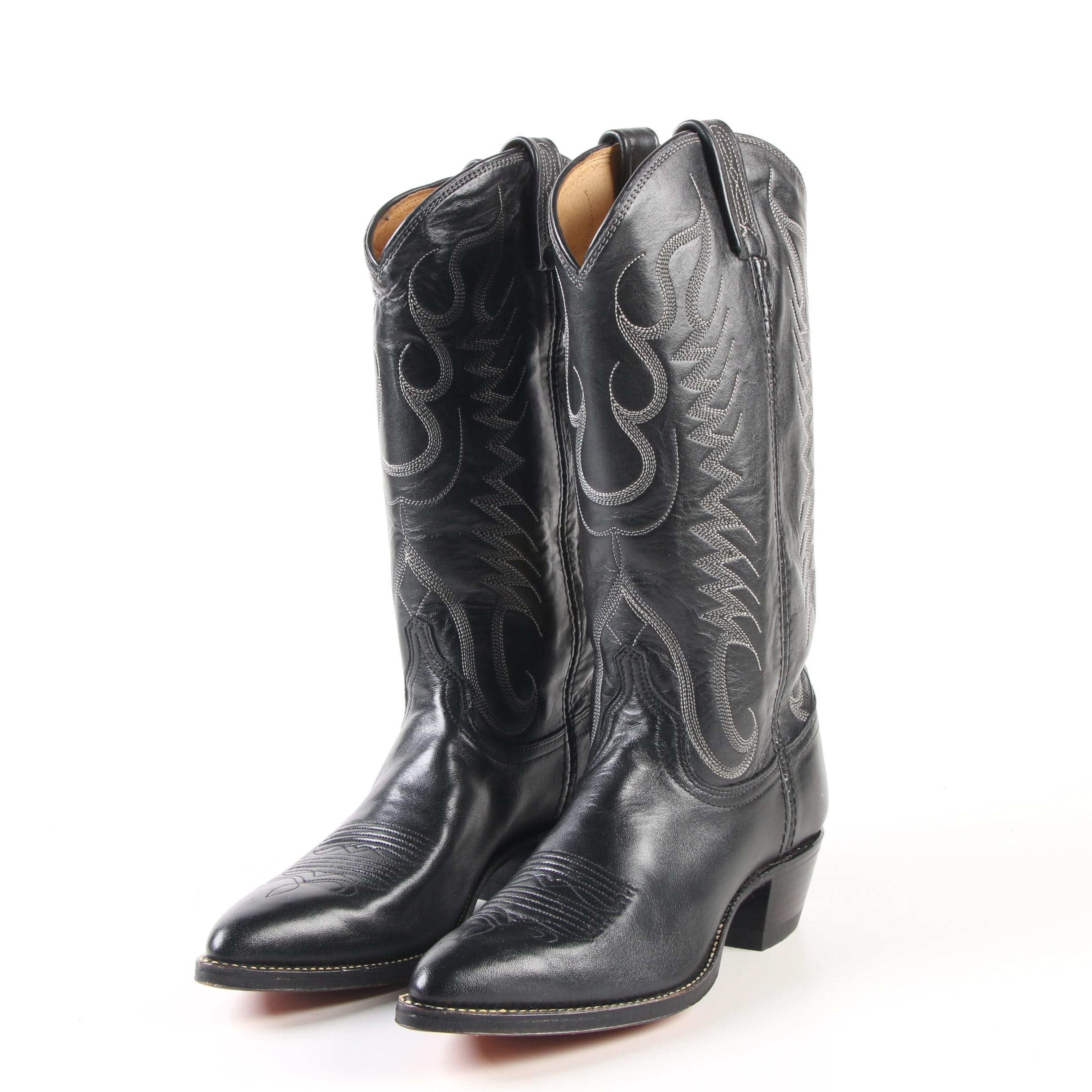 Women's Dan Post Pointed Toe Western Boots in Black Leather