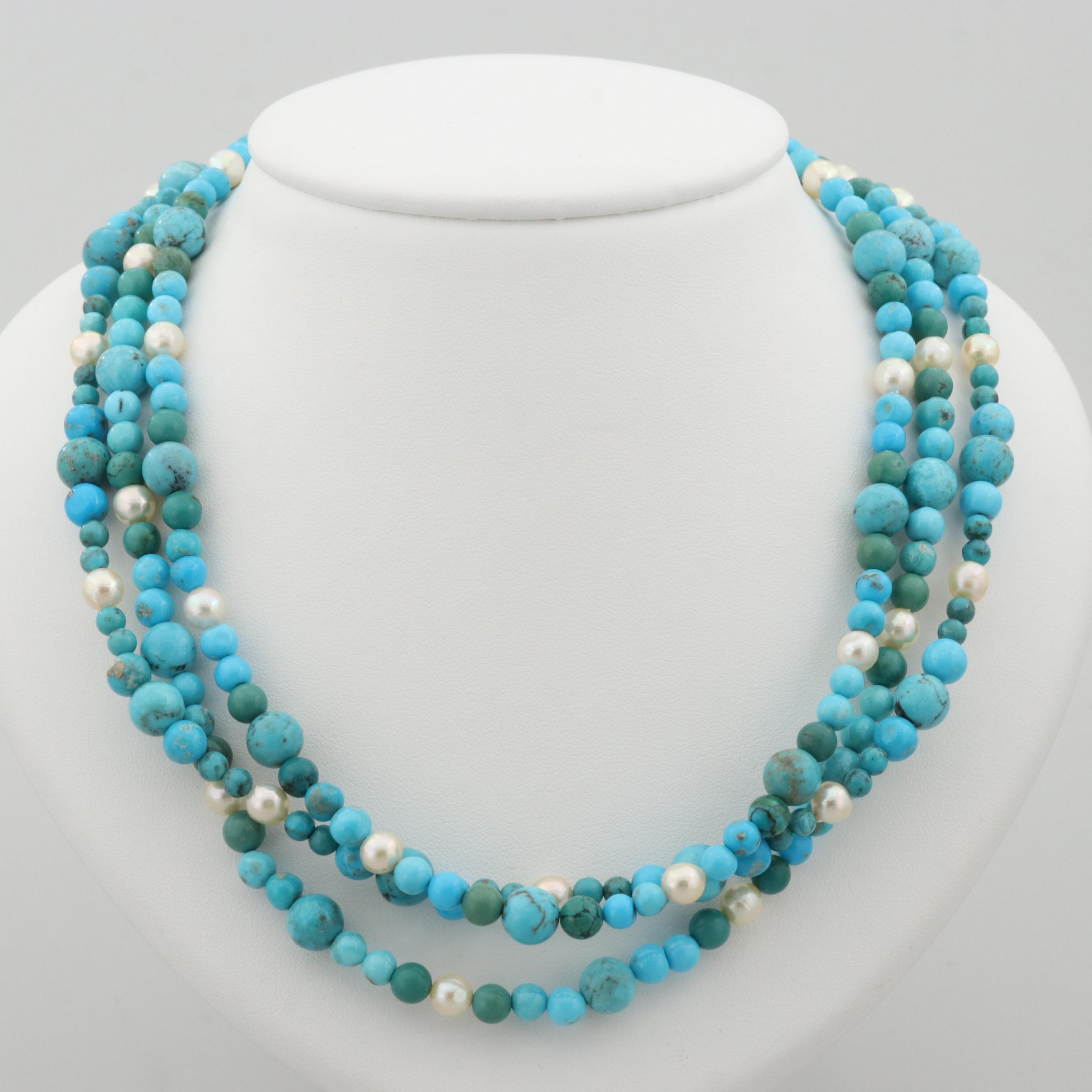 Sterling Silver Turquoise and Cultured Pearl Multi Strand Beaded Necklace