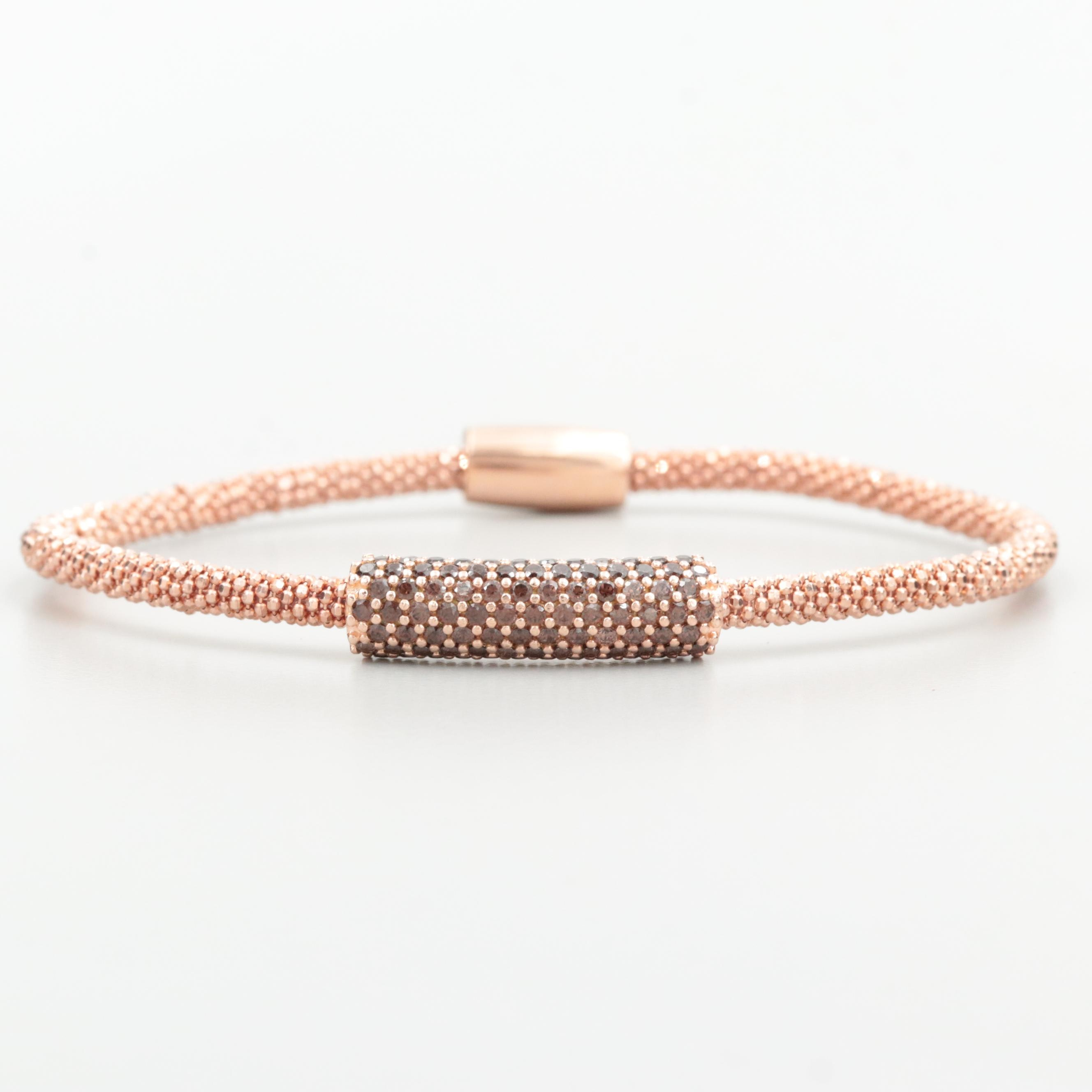 Rose Tone on Sterling Silver Cubic Zirconia Bracelet