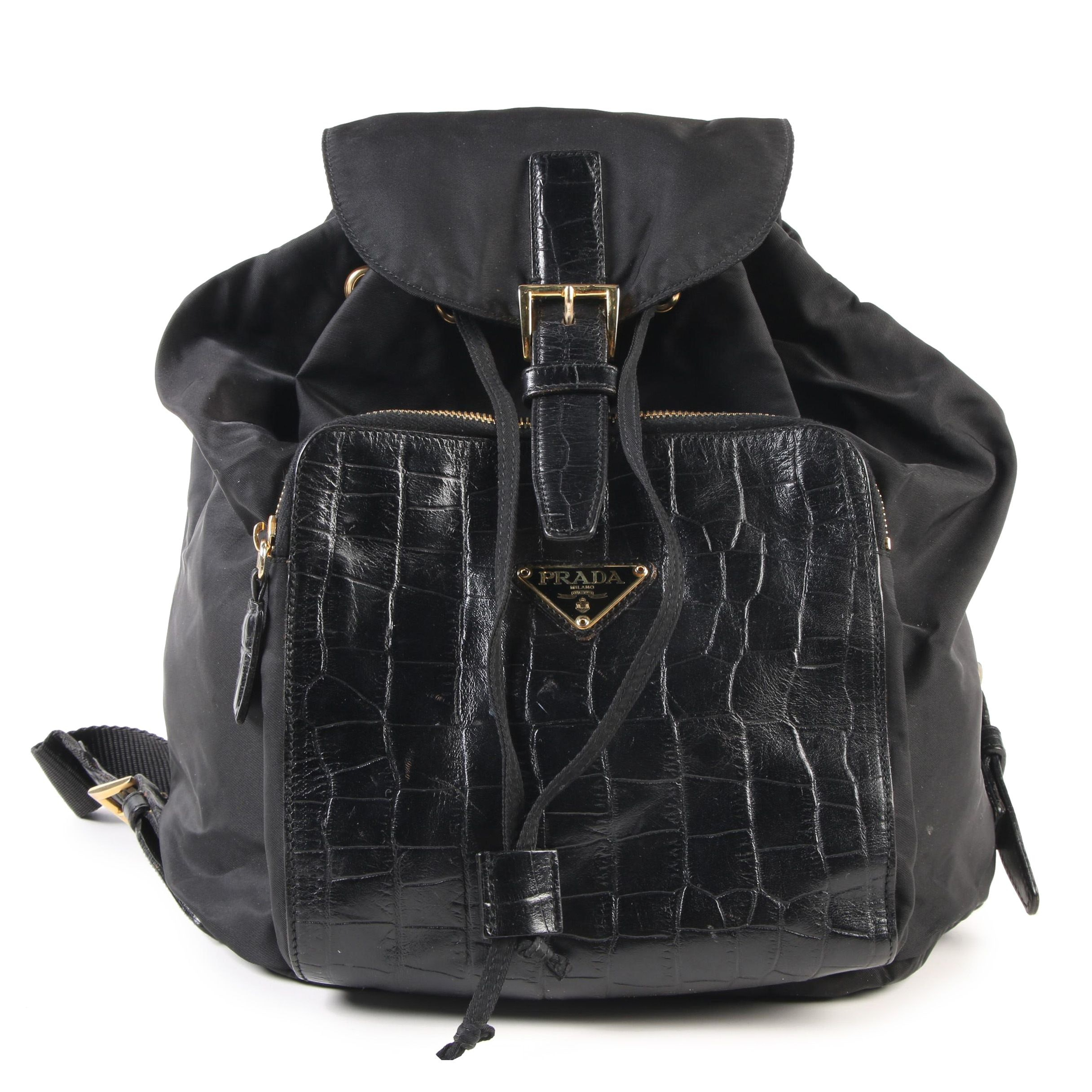 Prada Black Nylon and Alligator Embossed Leather Backpack