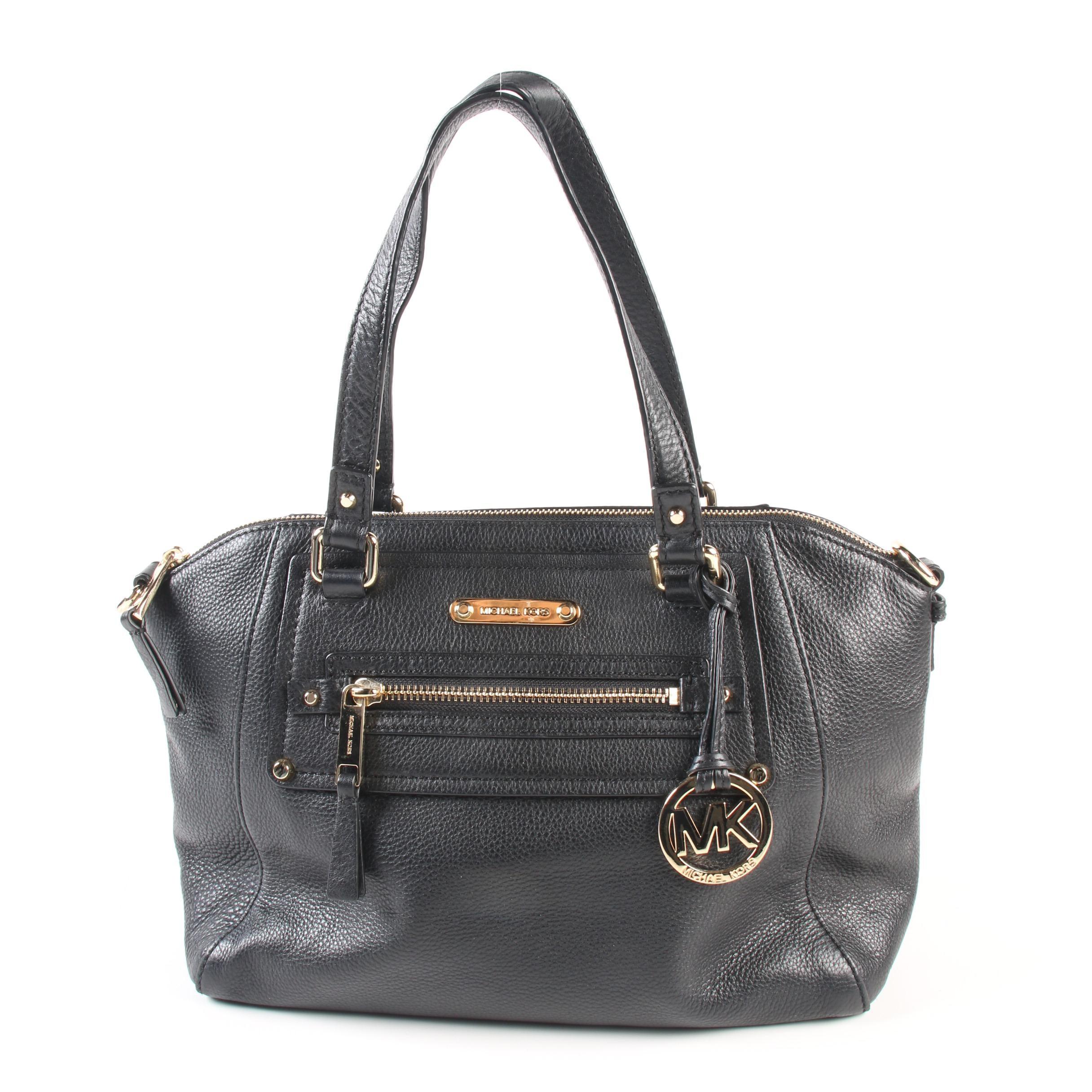 MICHAEL Michael Kors Black Pebbled Leather Satchel