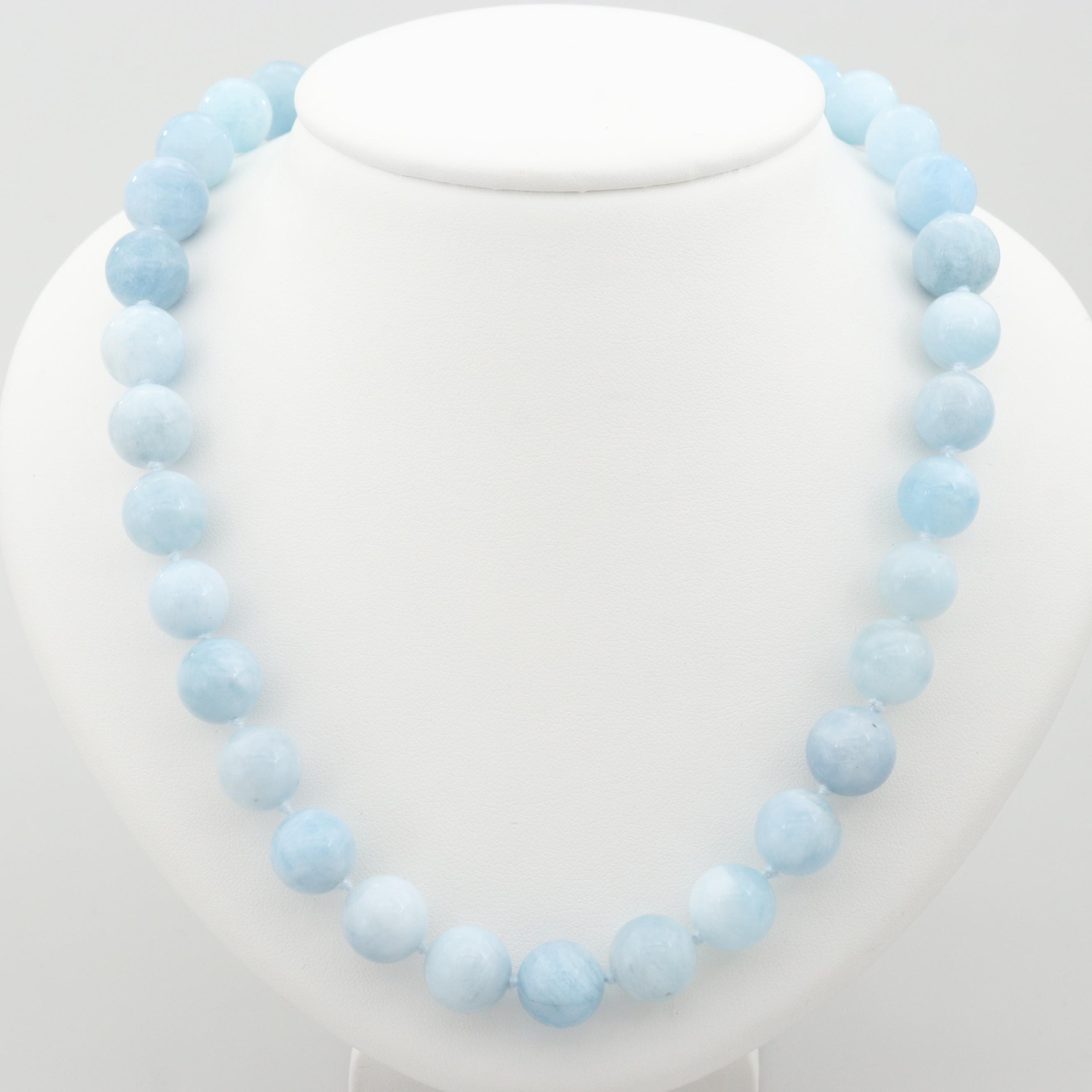 Sterling Silver Blue Beryl Individually Knotted Beaded Necklace