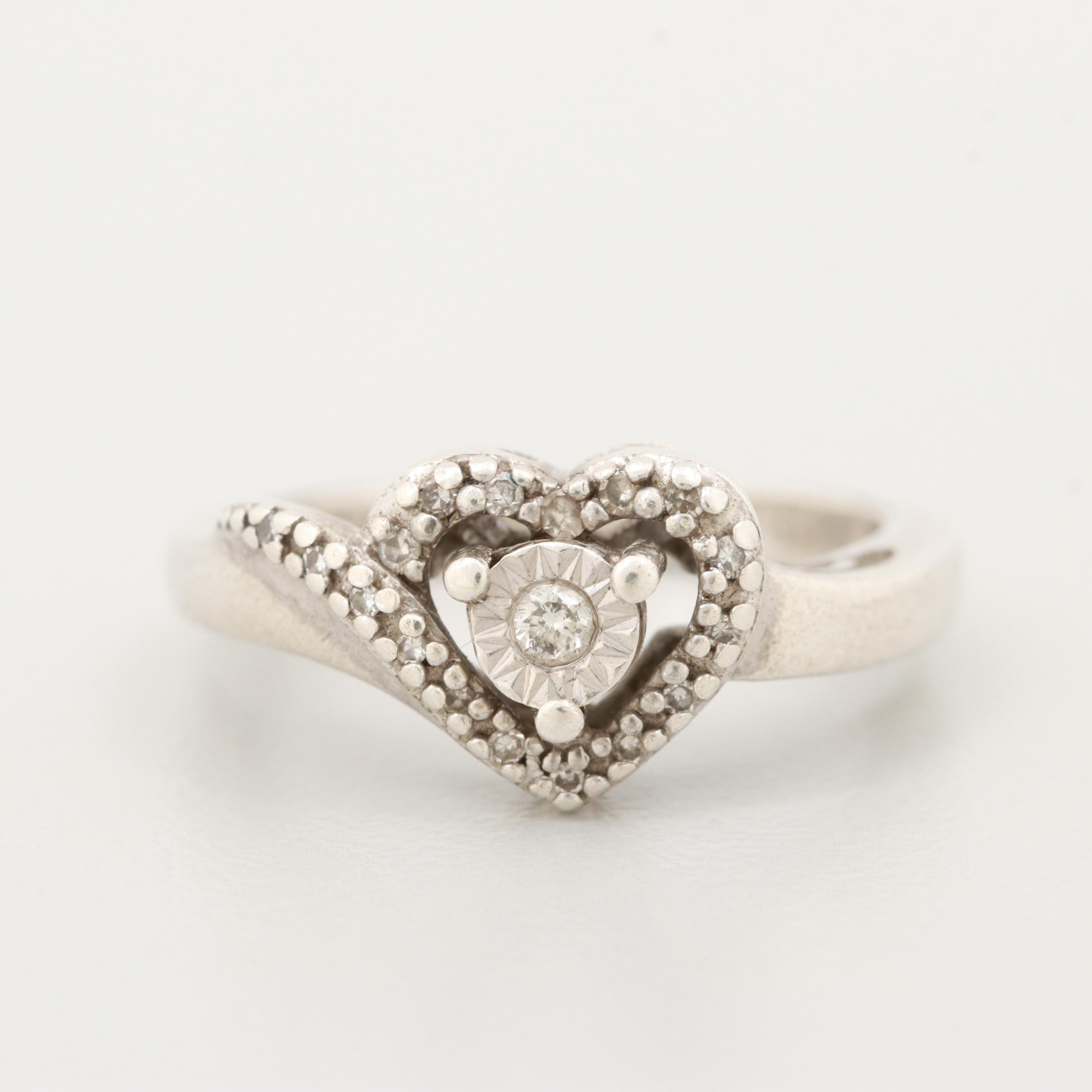 Sterling Silver Diamond Heart Ring