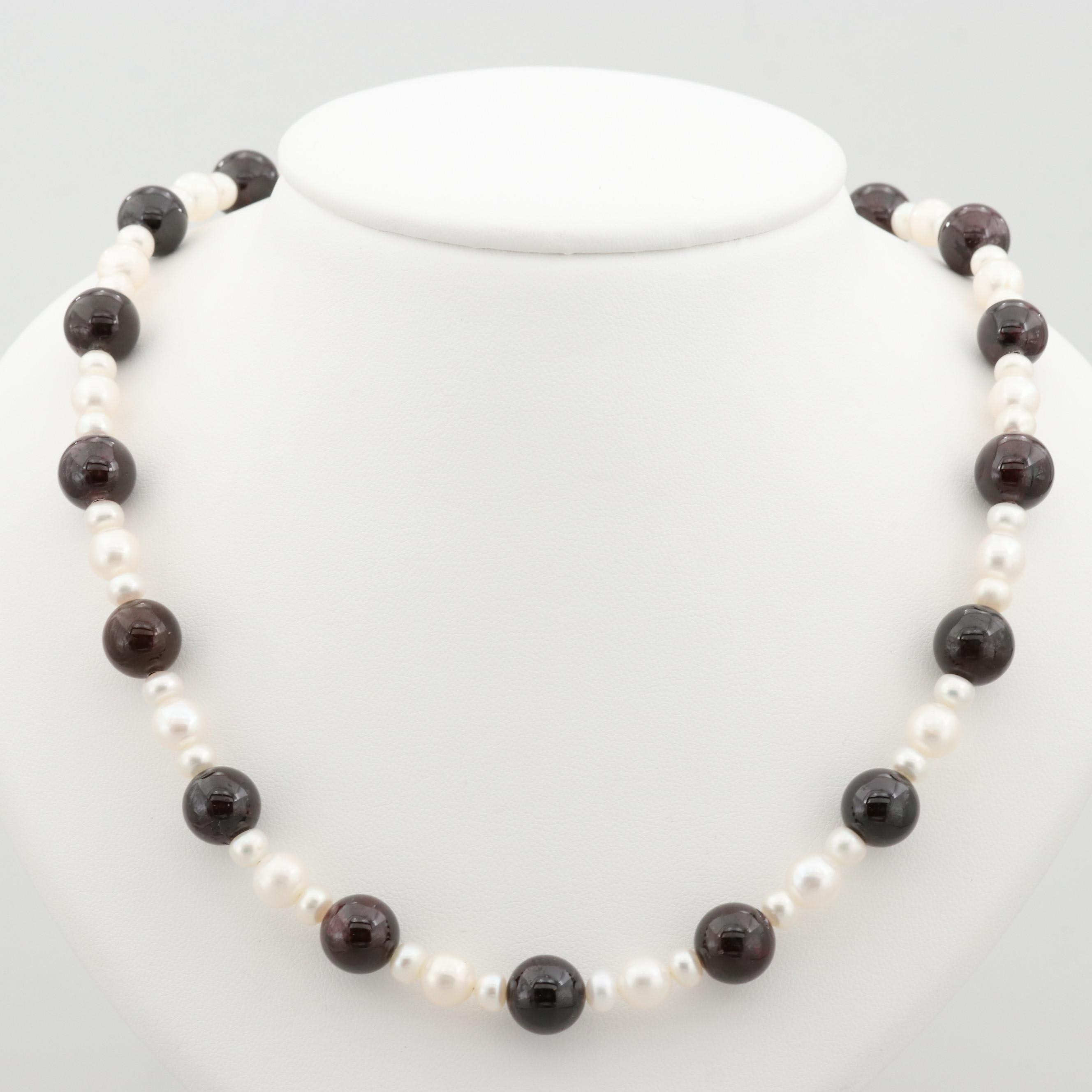 14K Yellow Gold Cultured Pearl and Rhodolite Garnet Beaded Necklace