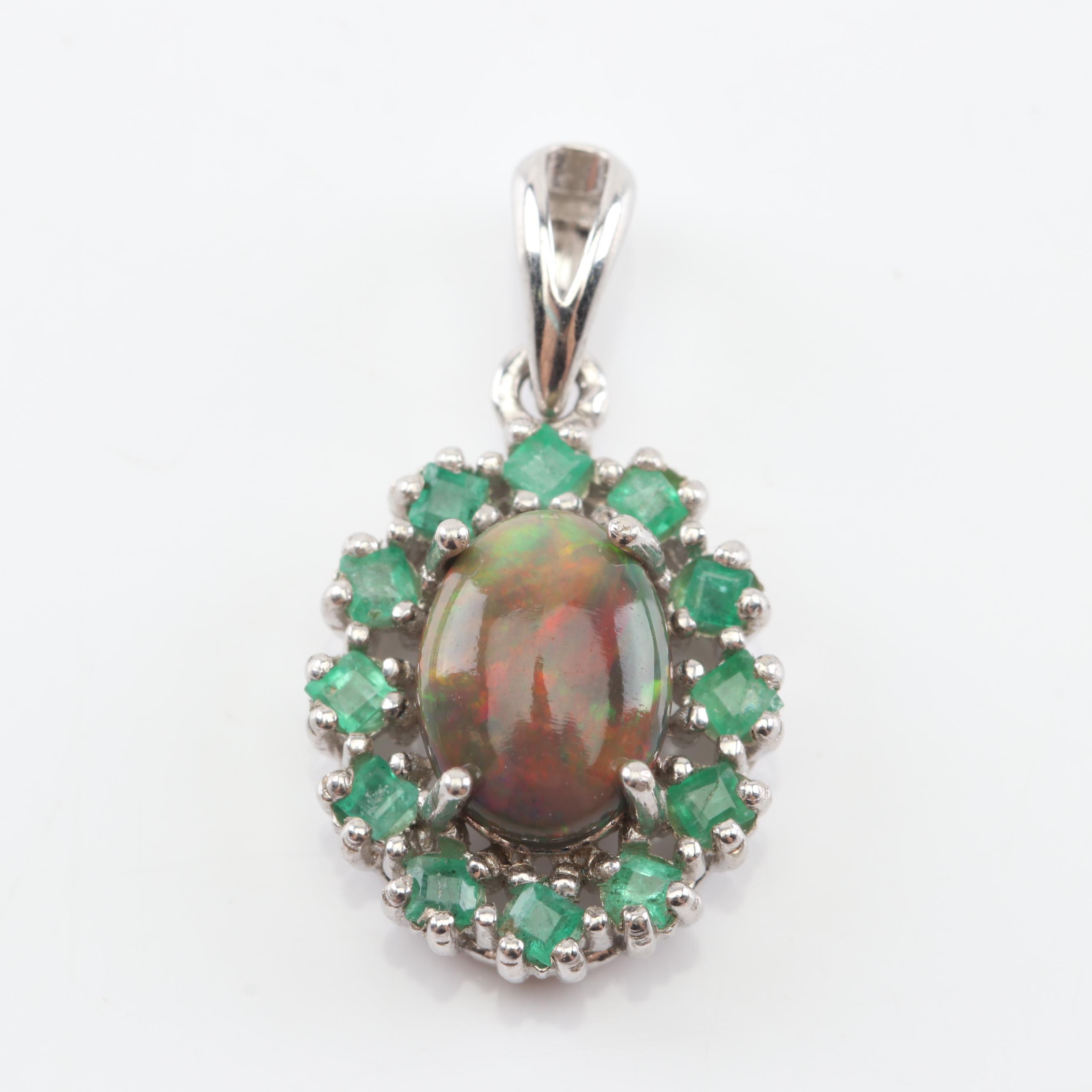 Sterling Silver Black Opal Emerald Pendant