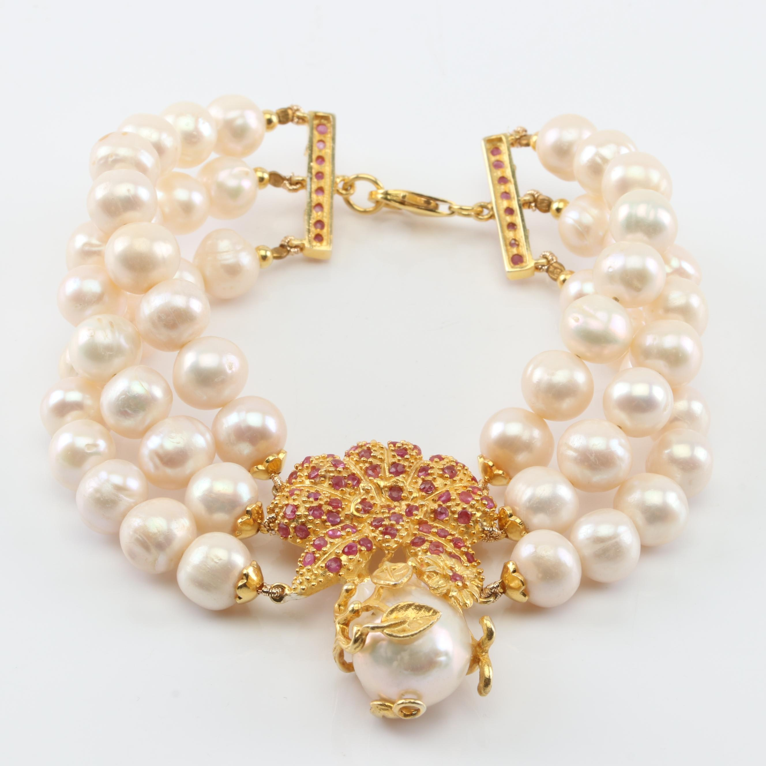 Sterling Silver Freshwater Pearl and Ruby Bracelet with Gold Wash