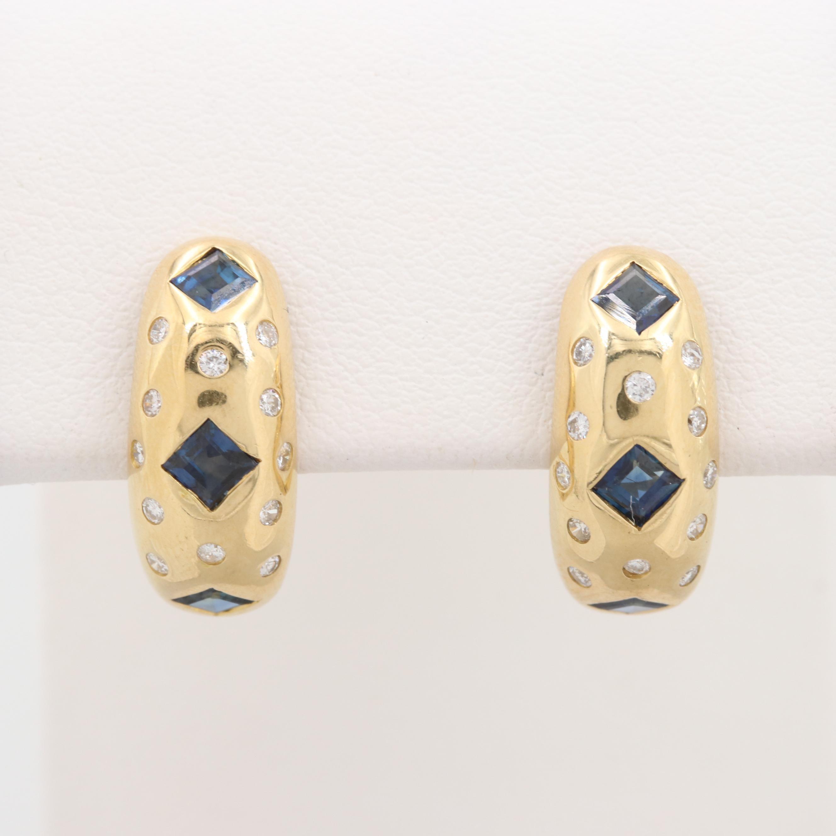 18K Yellow Gold Blue Sapphire and Diamond J-Hoop Earrings