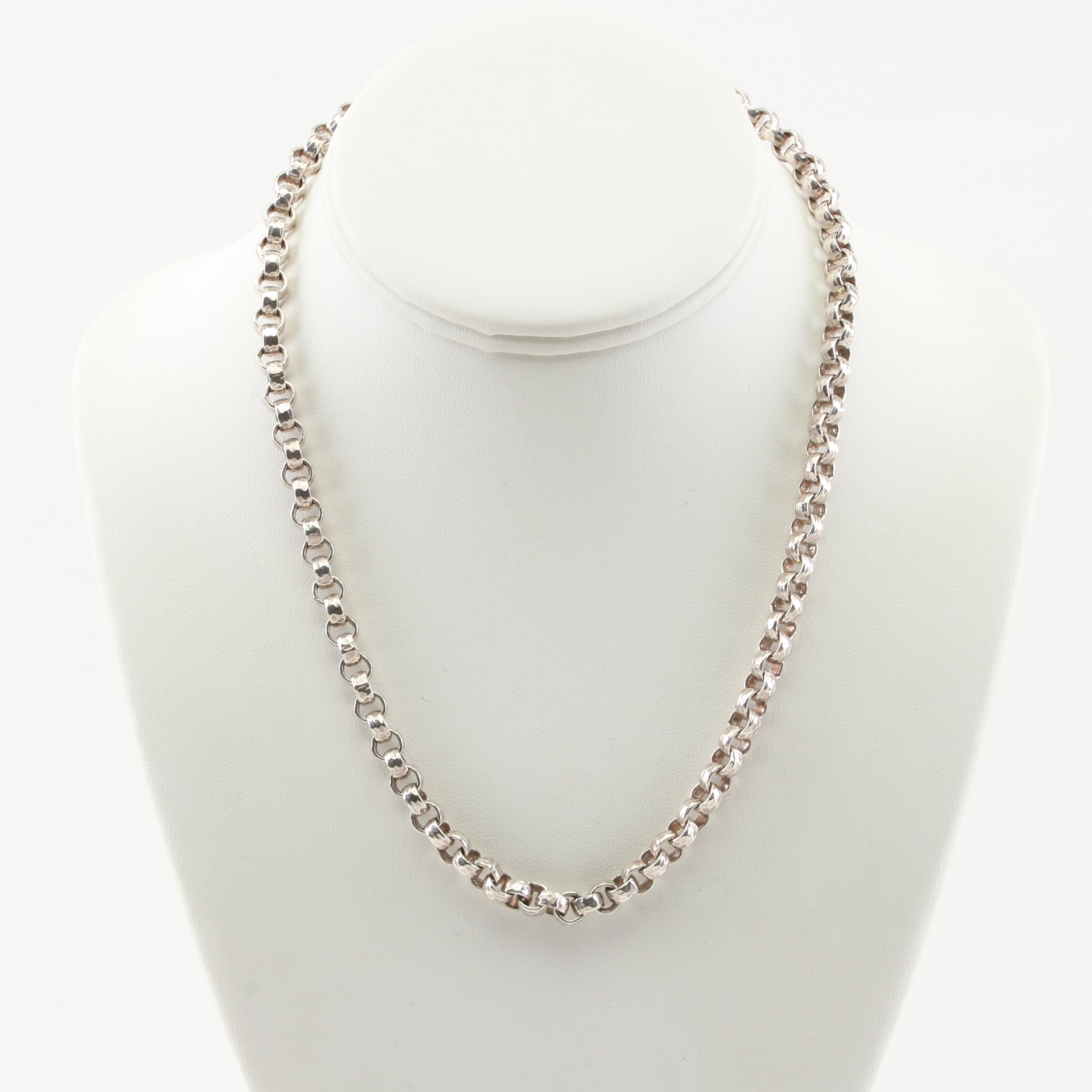 Sterling Silver Interlocking Link  Necklace