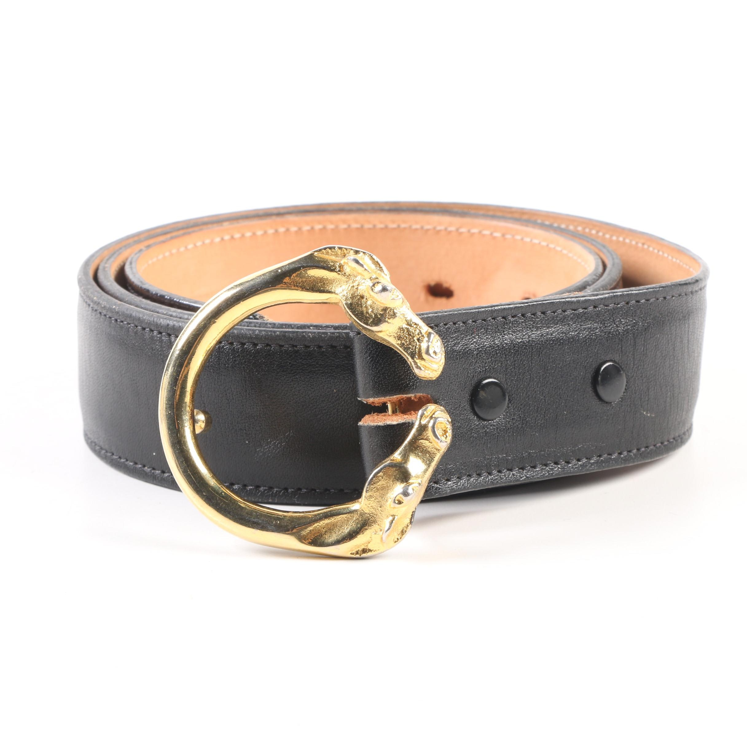 Tony Lama Gold Label Black Leather Belt with Horse Ring Buckle