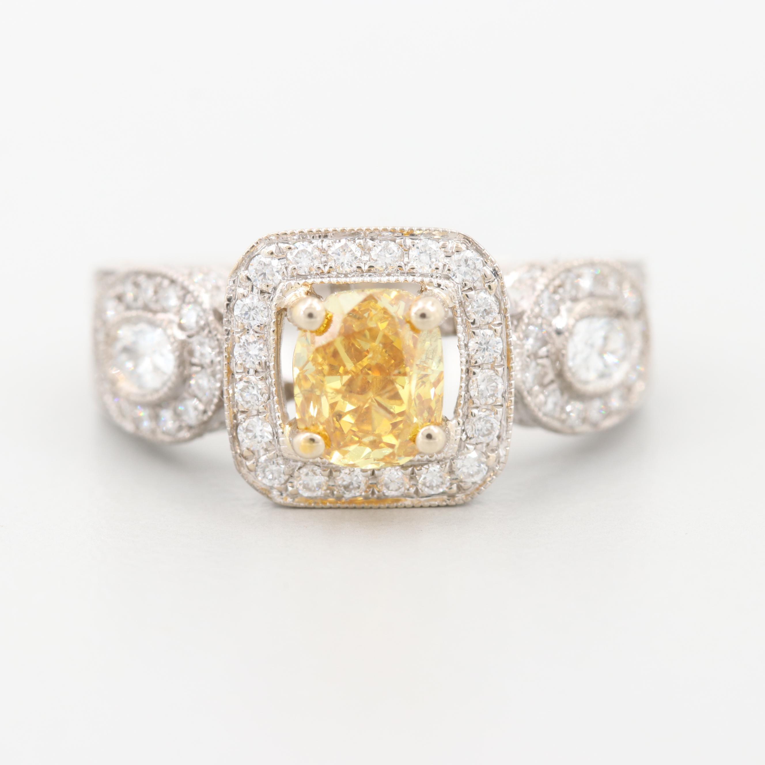 18K White Gold 2.24 CTW Fancy Intense Orangy Yellow Diamond Ring GIA Report