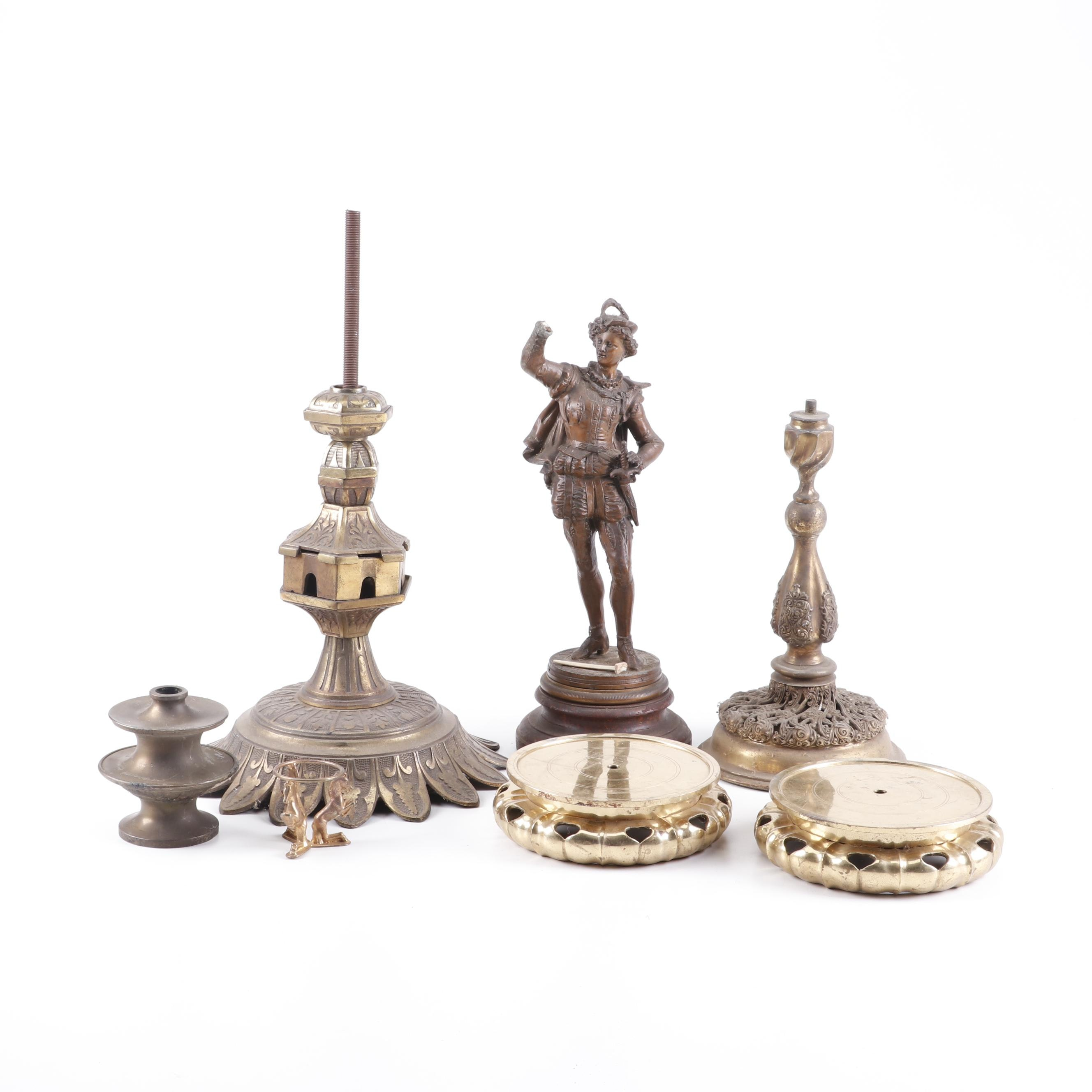 Spelter Swordsman Sculpture and Lamp Parts of Brass and Metal