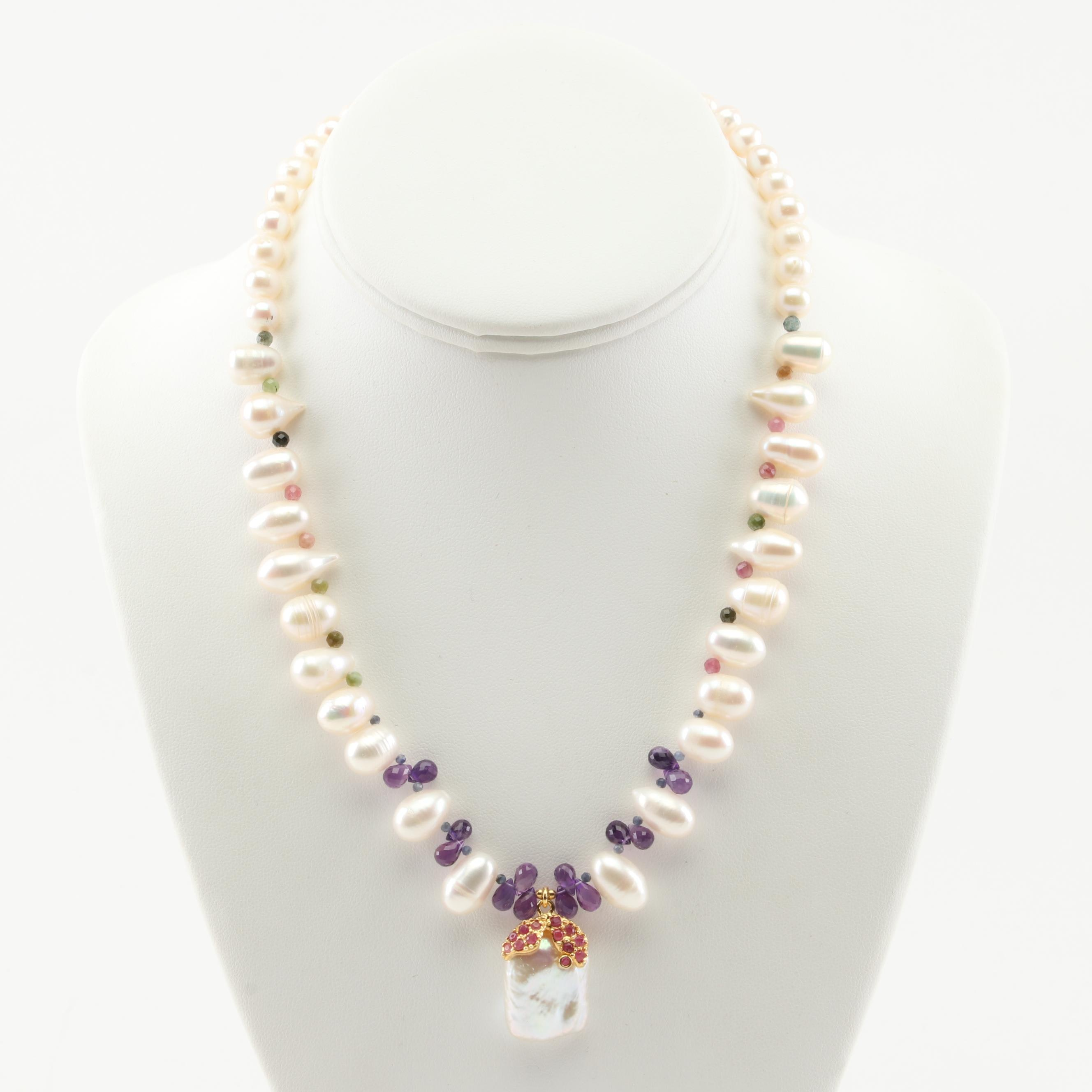 Sterling Silver Freshwater Pearl, Amethyst, Ruby, and Tourmaline Necklace