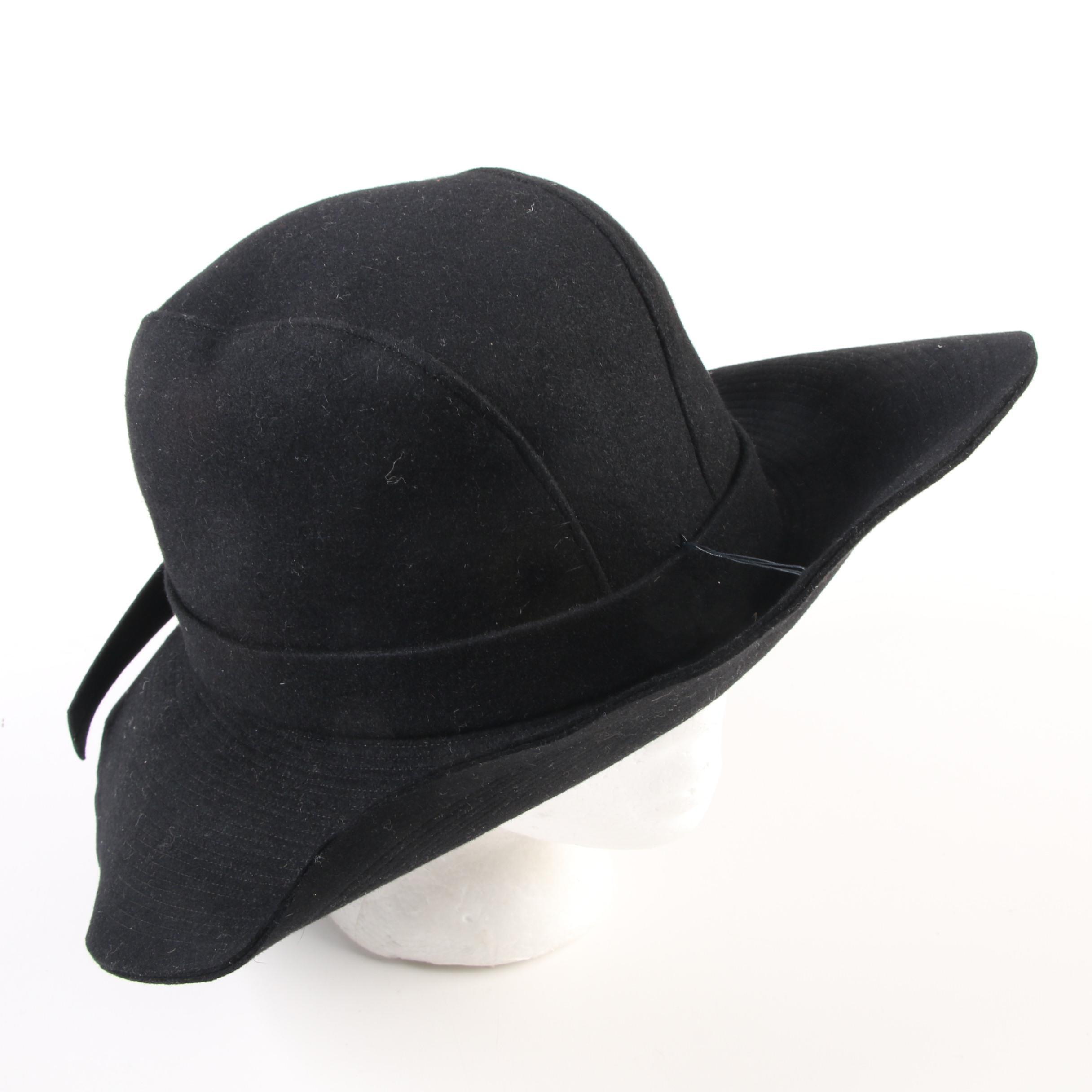 Adolfo for I. Magnin Black Felt Hat, Vintage, 1960s Vintage