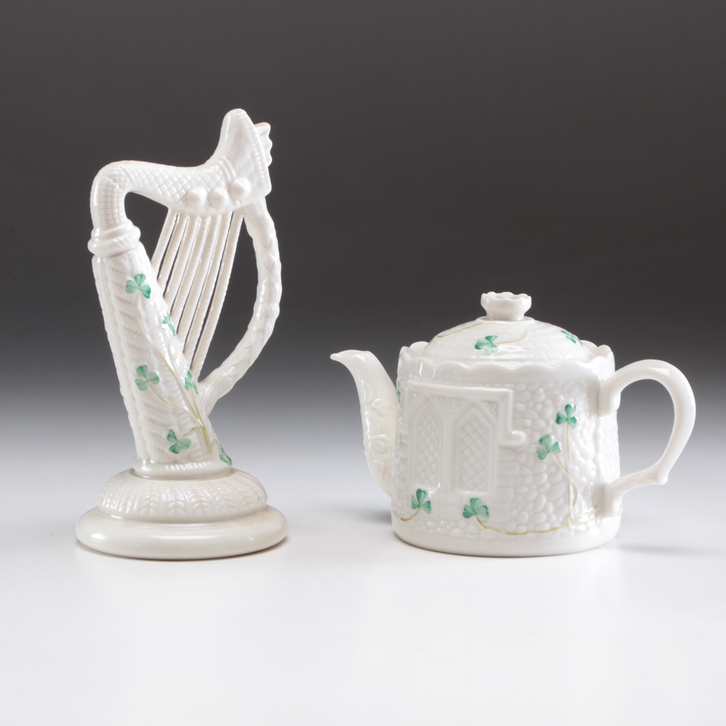 "Belleek Porcelain ""Shamrock"" Teapot and Harp Figurine, Mid to Late 20th Century"