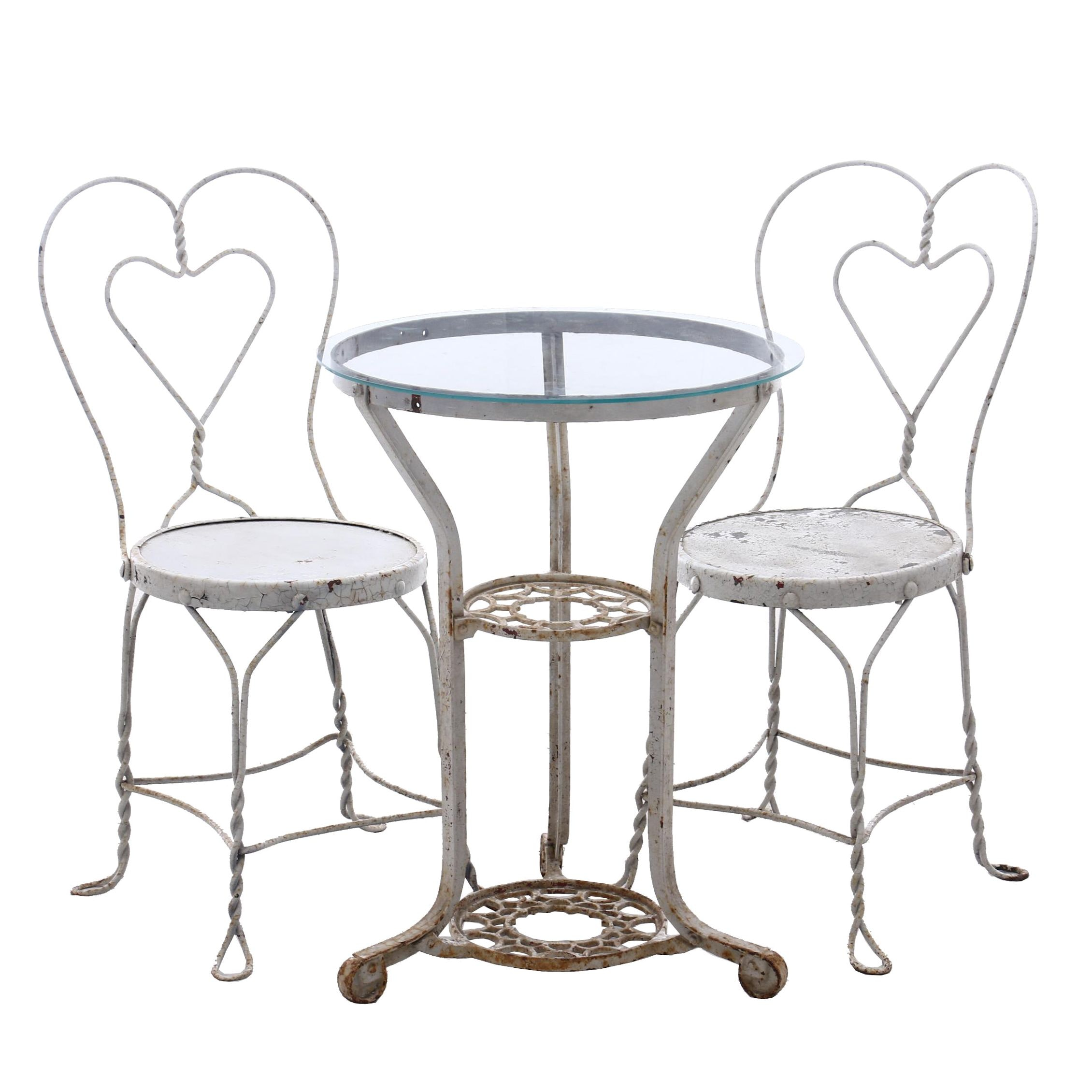 Wrought Iron Glass Top Patio Table with Bistro Chairs in White