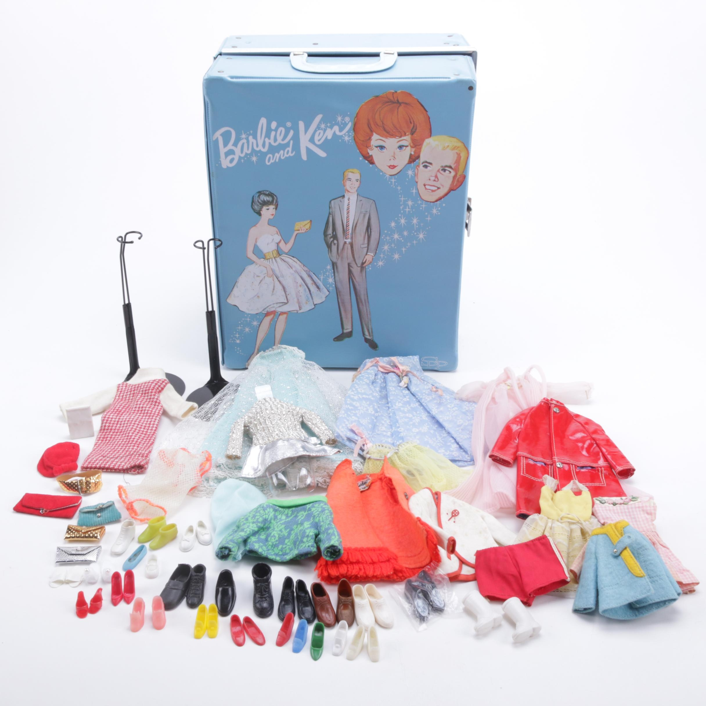 "1960s ""Barbie & Ken"" Case with Barbie, Skipper, Ken Clothes and Accessories"
