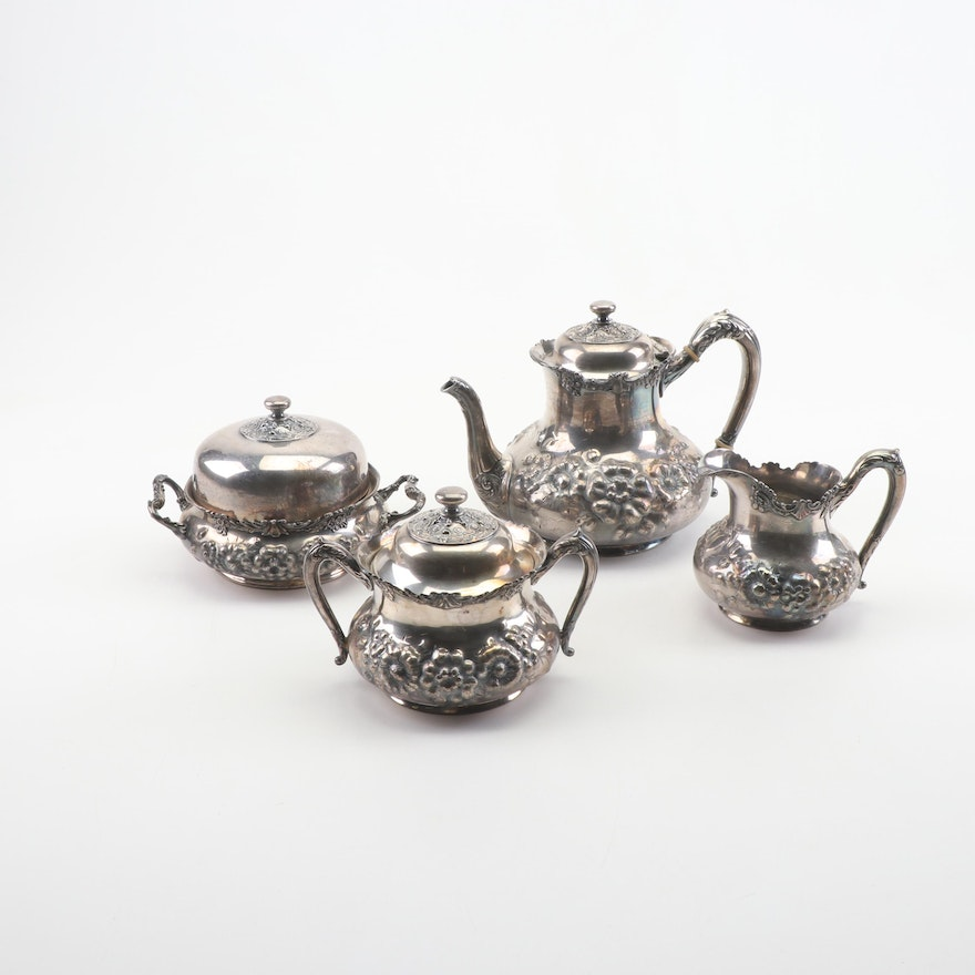 Reed & Barton Silver Plated Repousse Tea Set