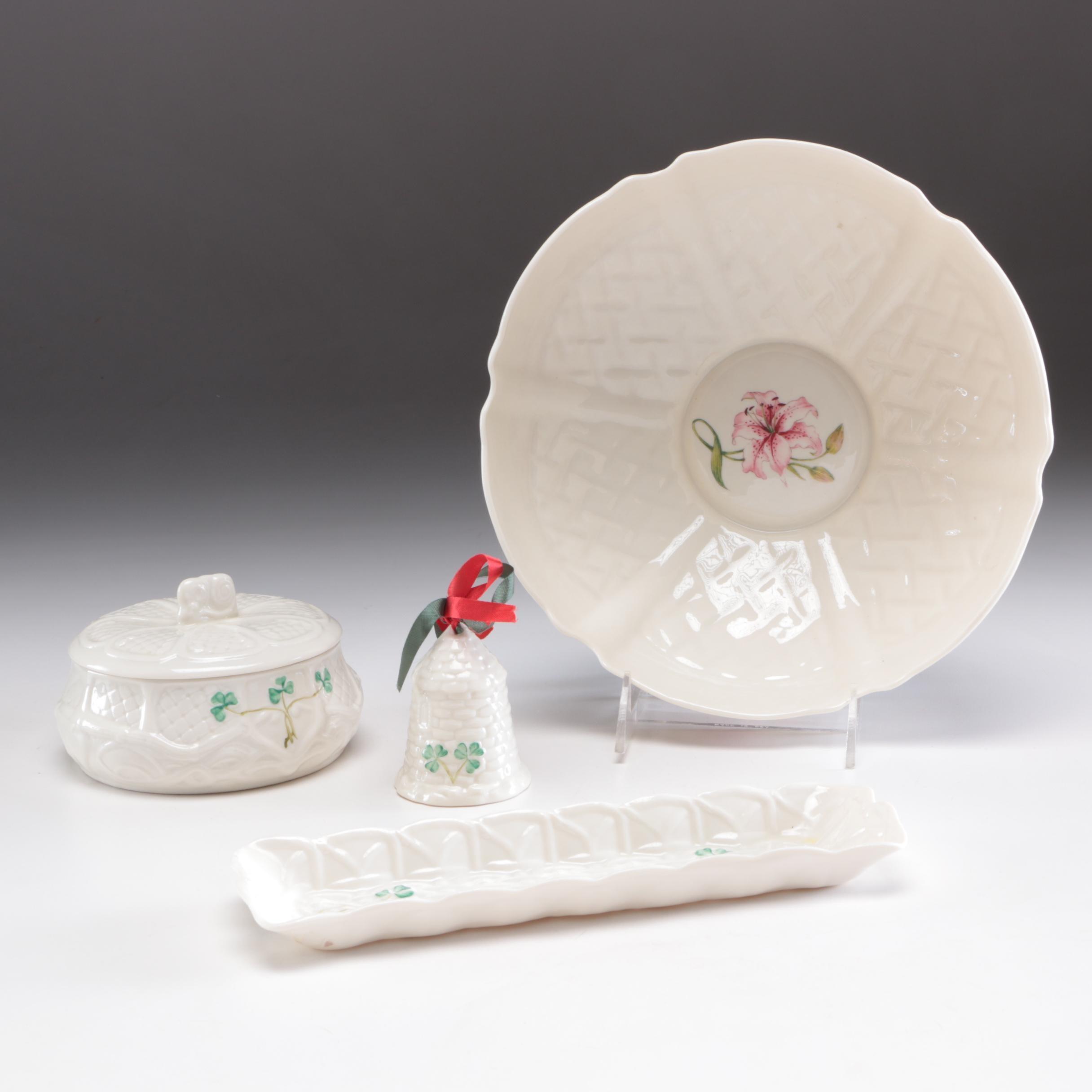 "Belleek Porcelain Serving Dish and ""Shamrock"" Trinket Box and Other Tableware"