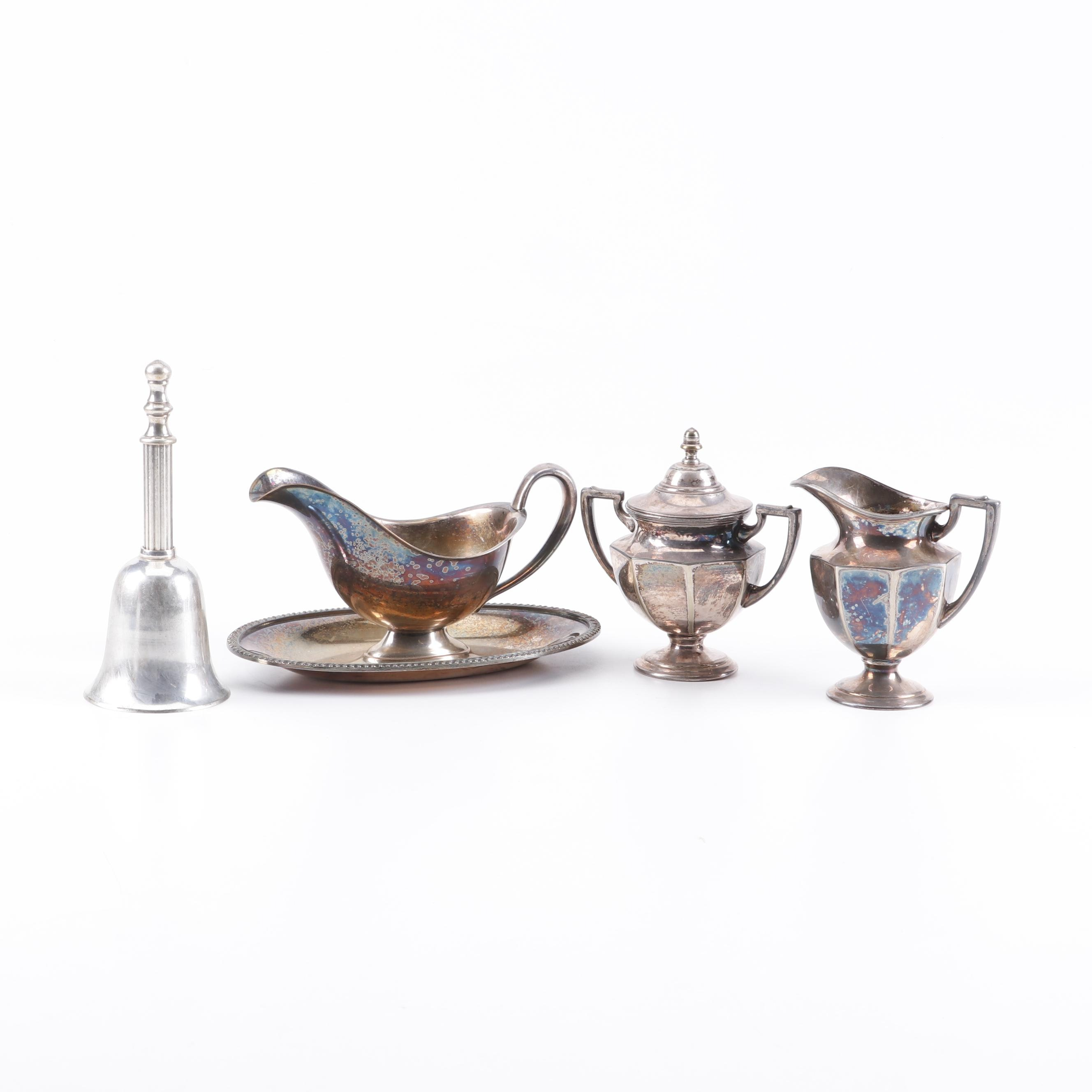 Silver Plate Tableware and Dinner Bell