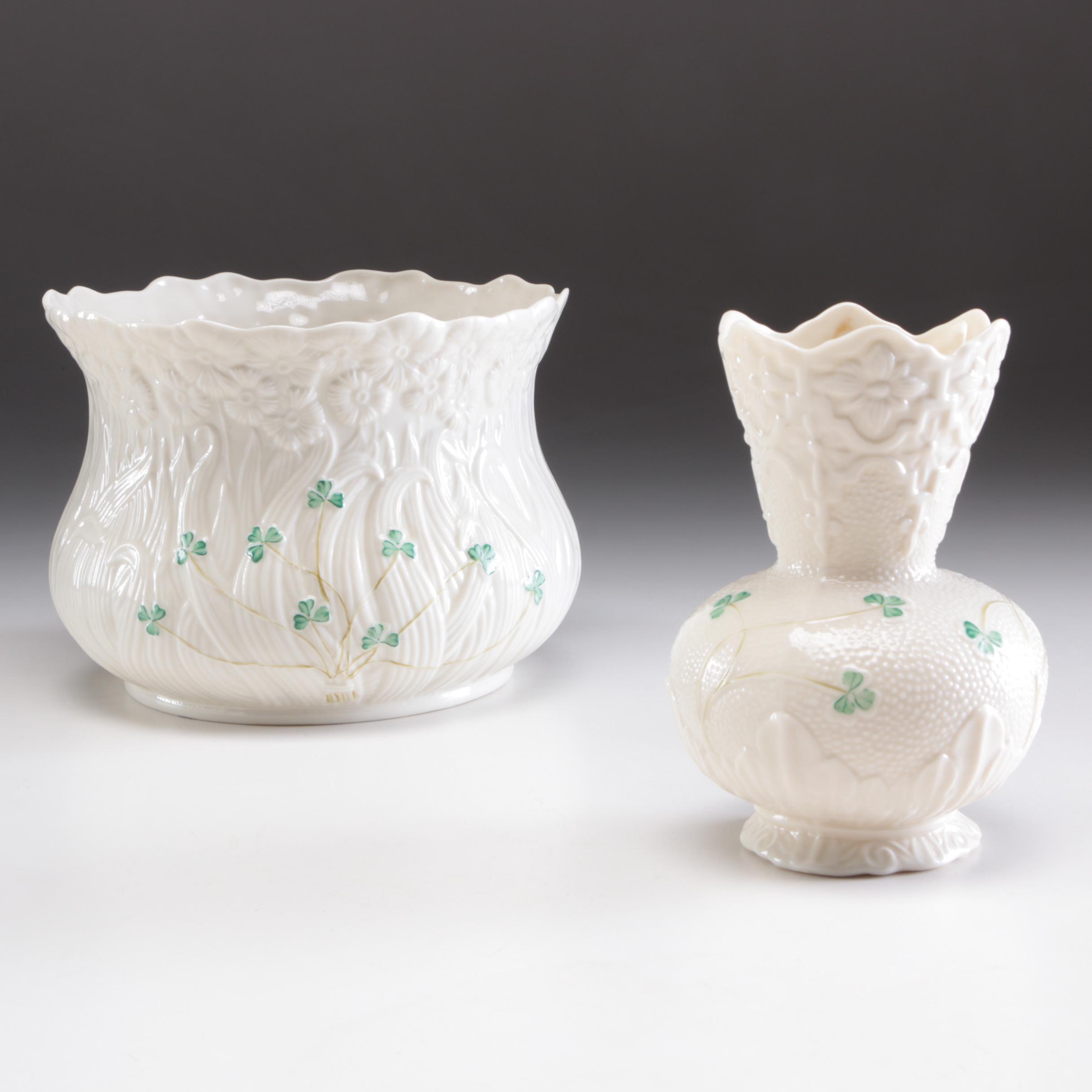 "Belleek Porcelain ""Shamrock"" Planter and Vase, Mid to Late 20th Century"