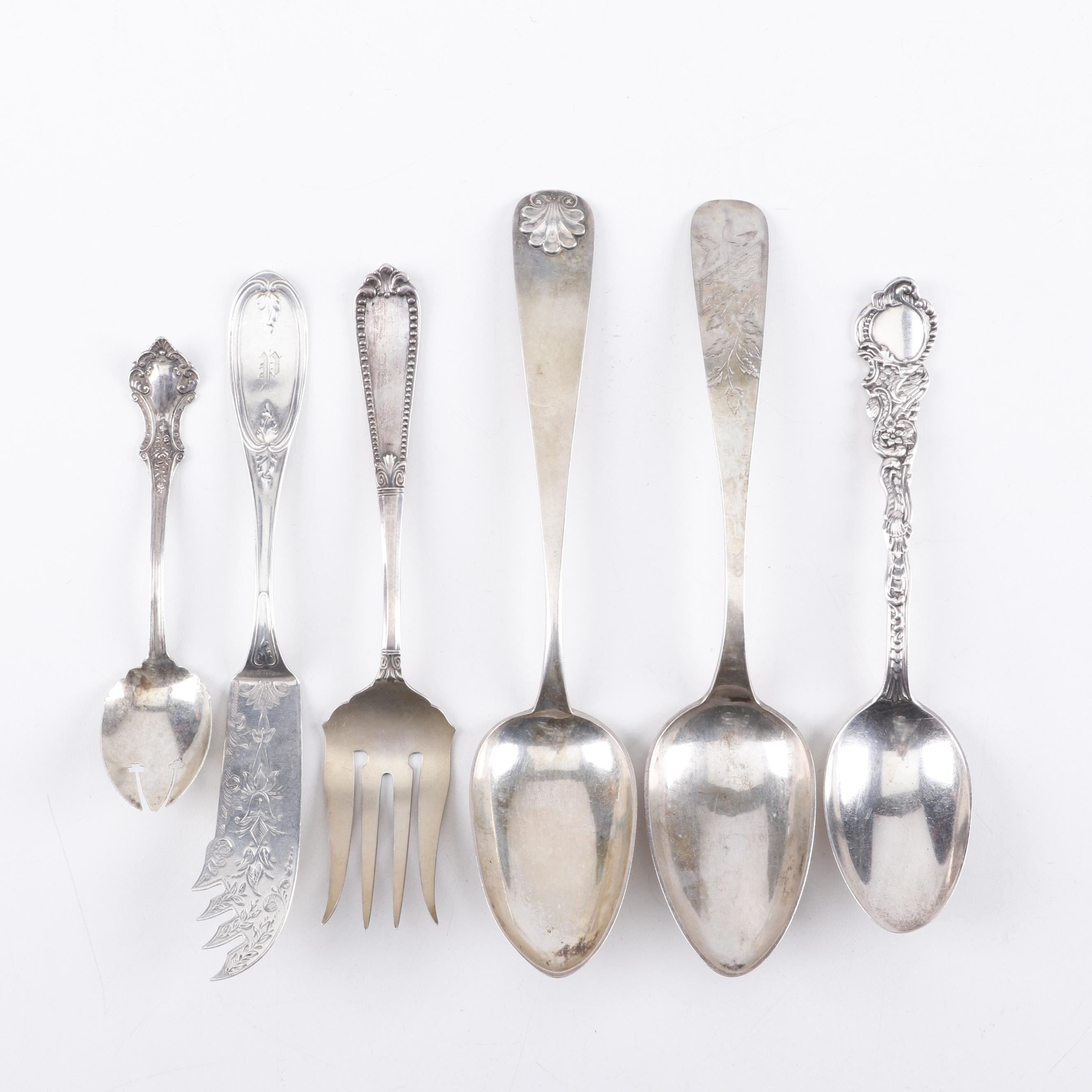 Mixed Serving Utensils of Sterling Silver, Silver Plate, and Coin Silver