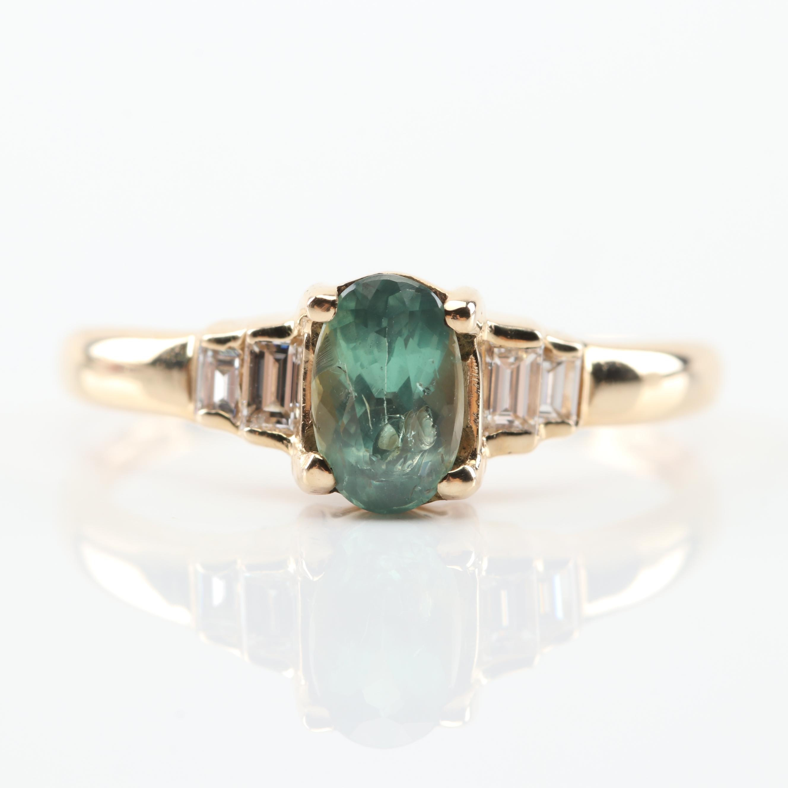 14K Yellow Gold Alexandrite and Diamond Ring