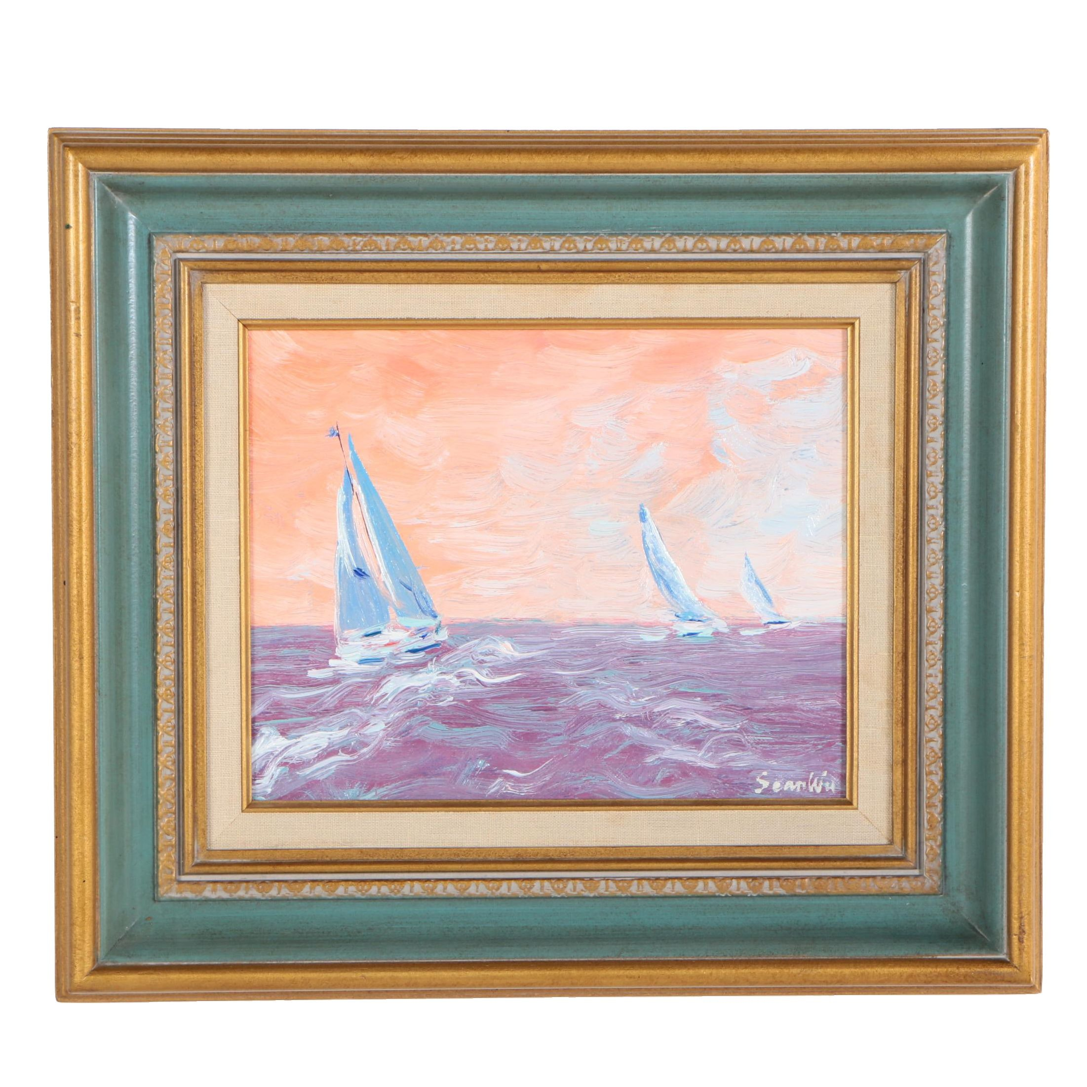 Sean Wu Oil Painting of Sailboats at Sea
