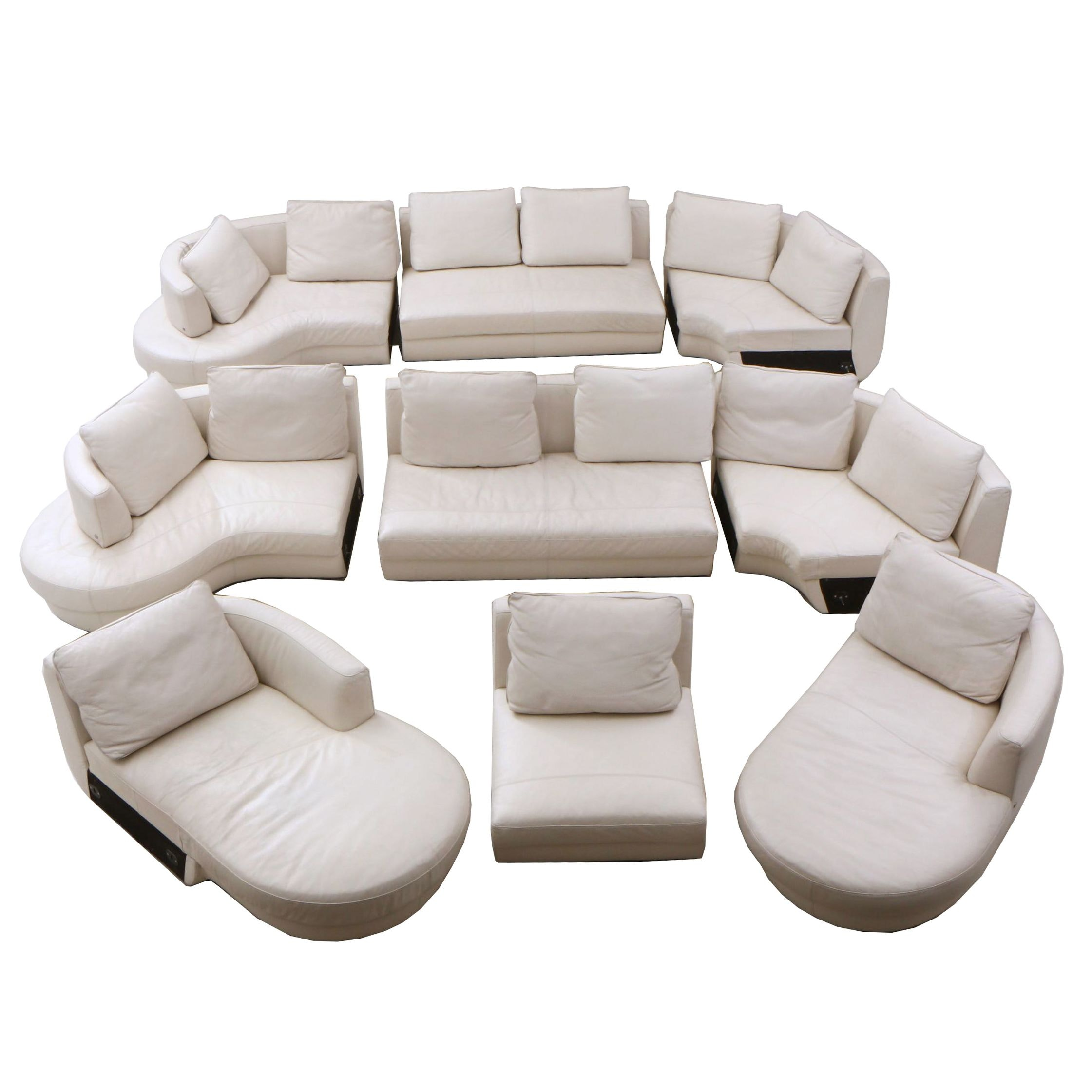 Natuzzi White Leather 9-Piece Sectional Sofa
