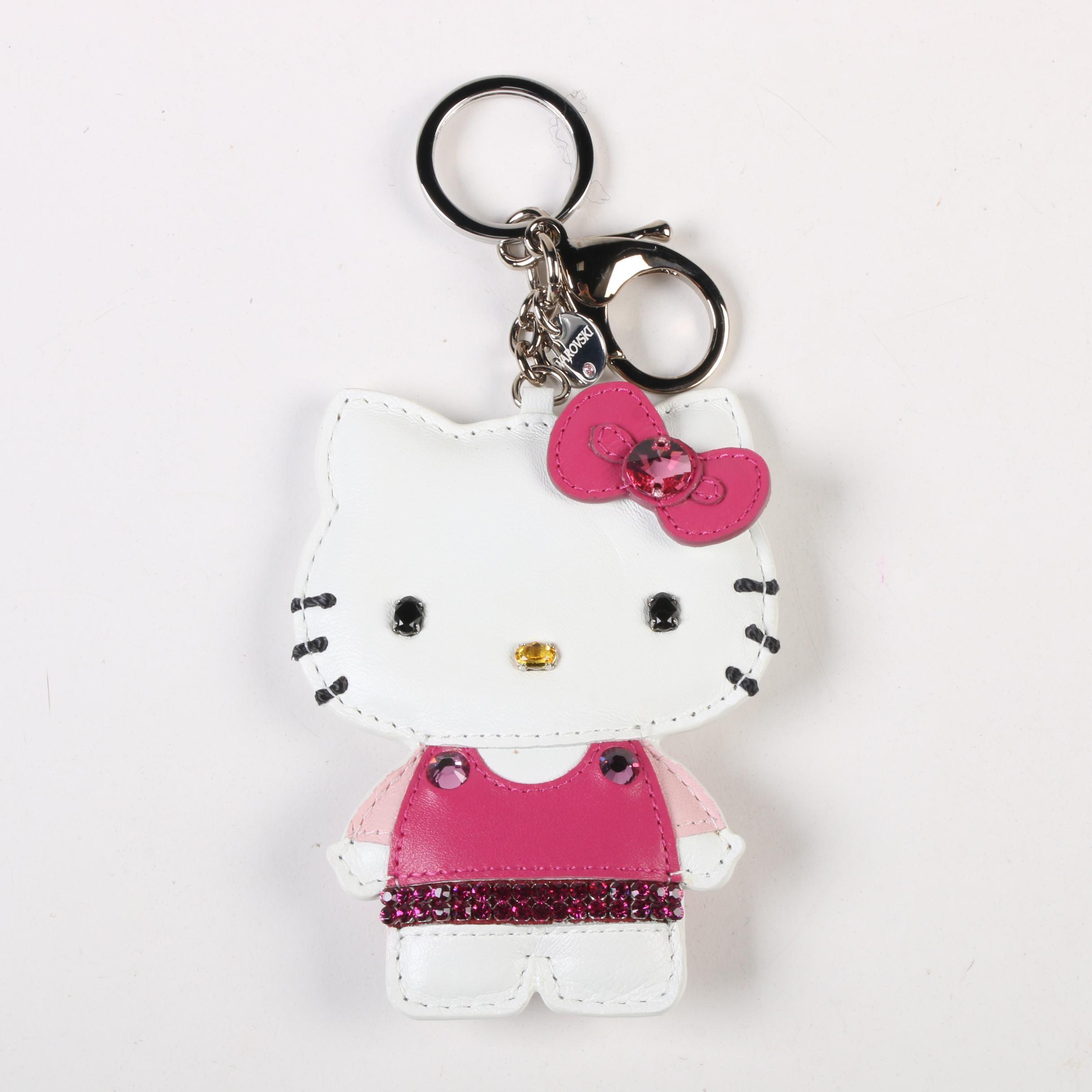 Swarovski Hello Kitty Leather Bag Charm Key Holder