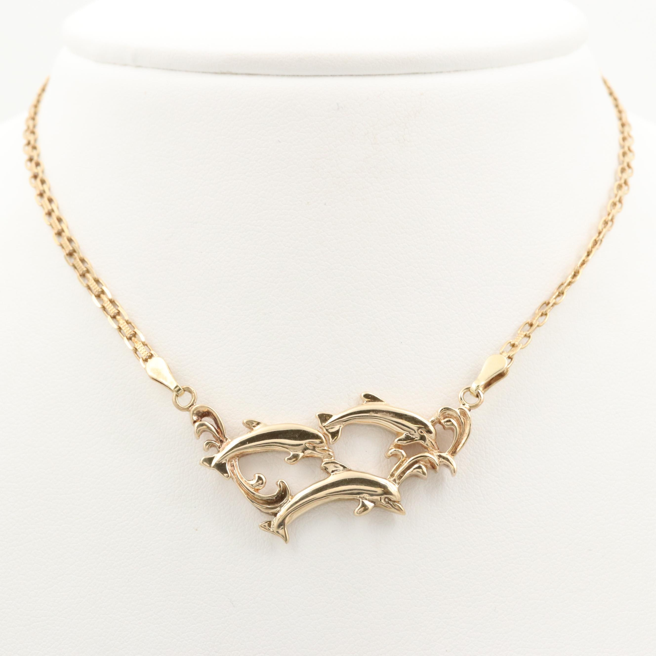 14K Yellow Gold Dolphin Motif Necklace