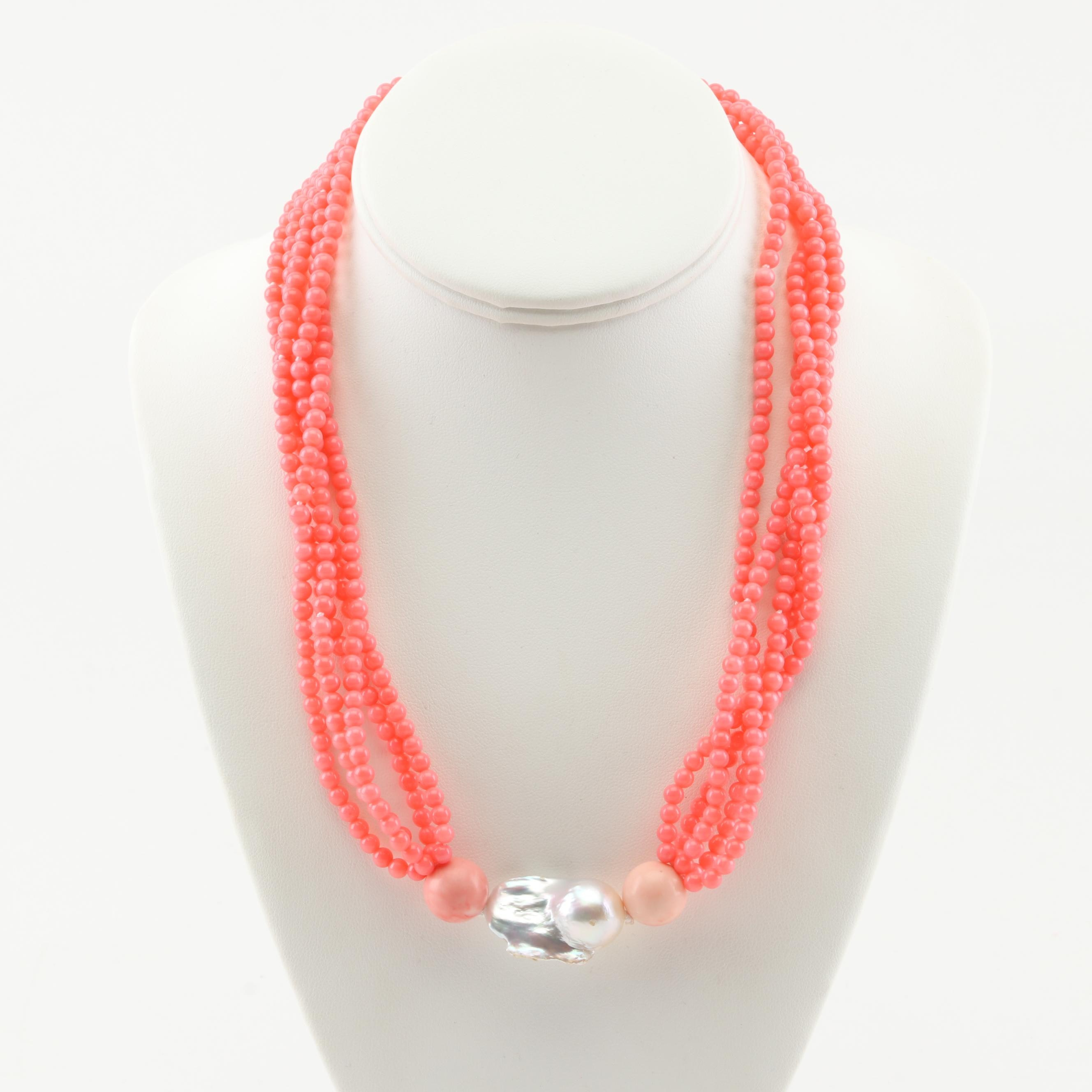 Freshwater Pearl and Coral Necklace