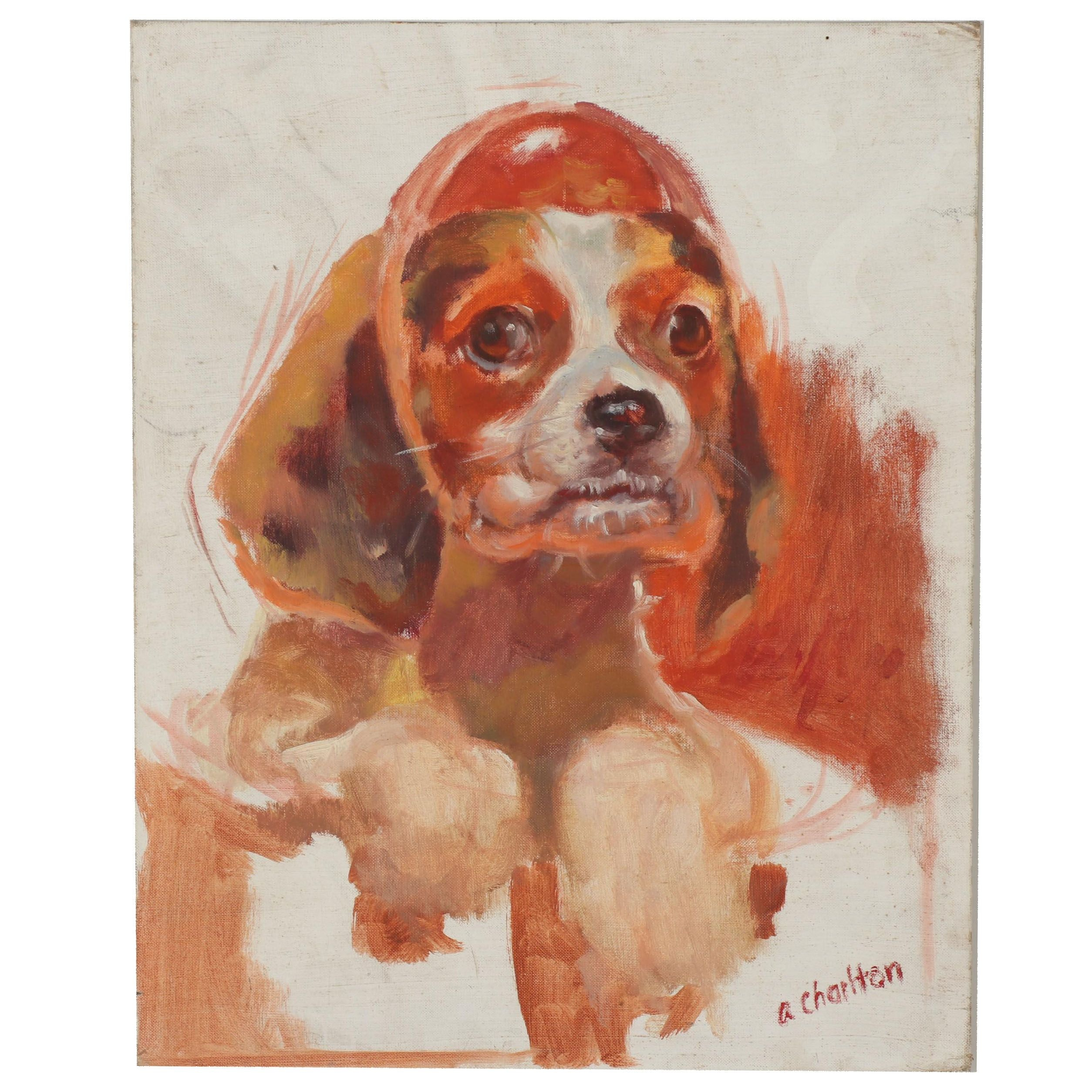 A. Charlton Oil Portrait of Dog