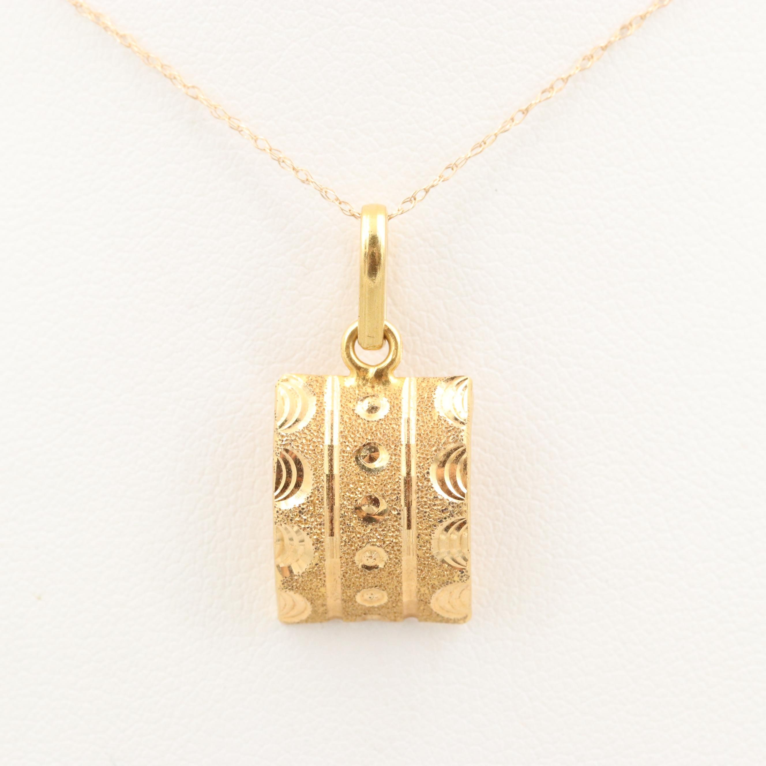 18K Yellow Gold Pendant on 14K Yellow Gold Chain