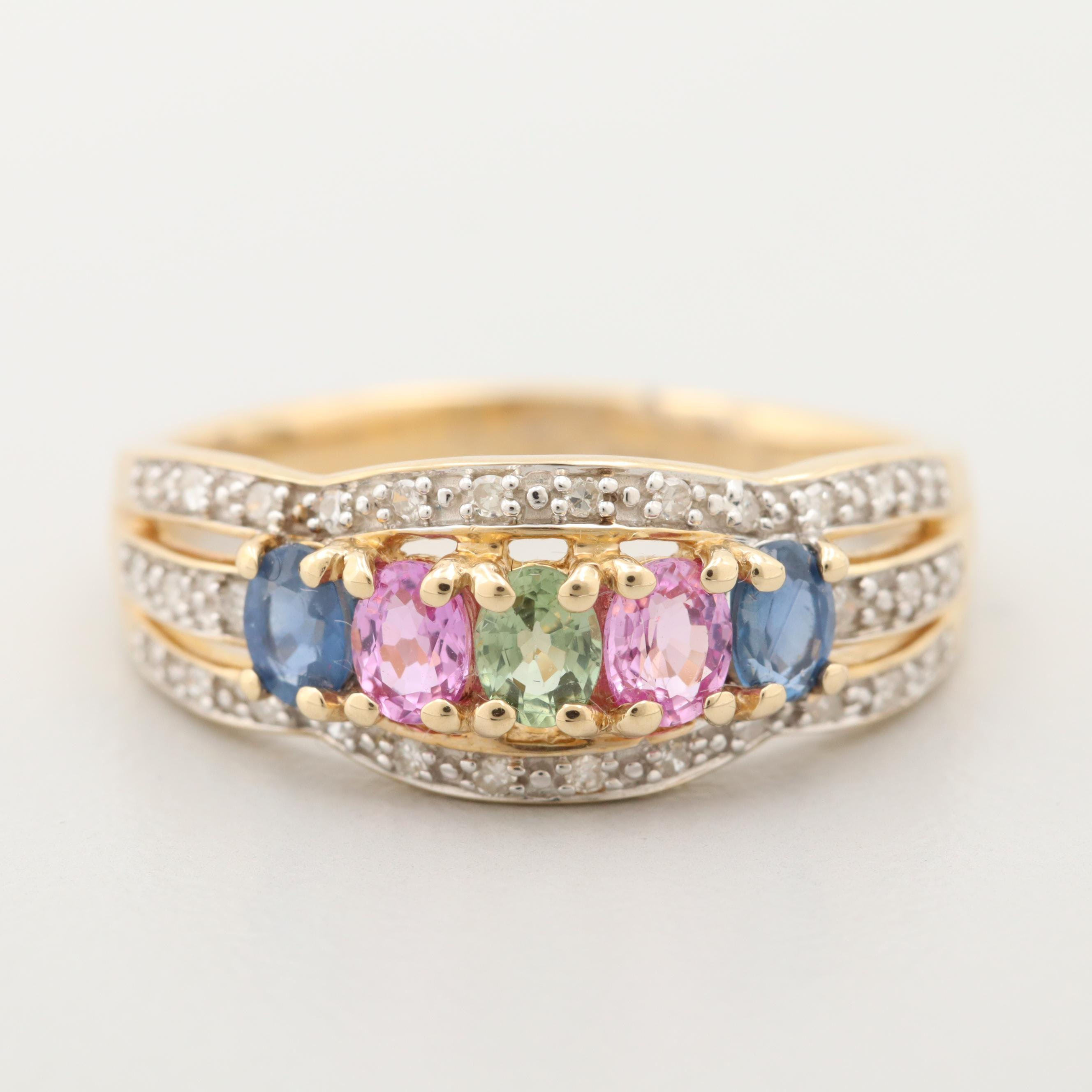 14K Yellow Gold Multi Colored Sapphire and Diamond Ring