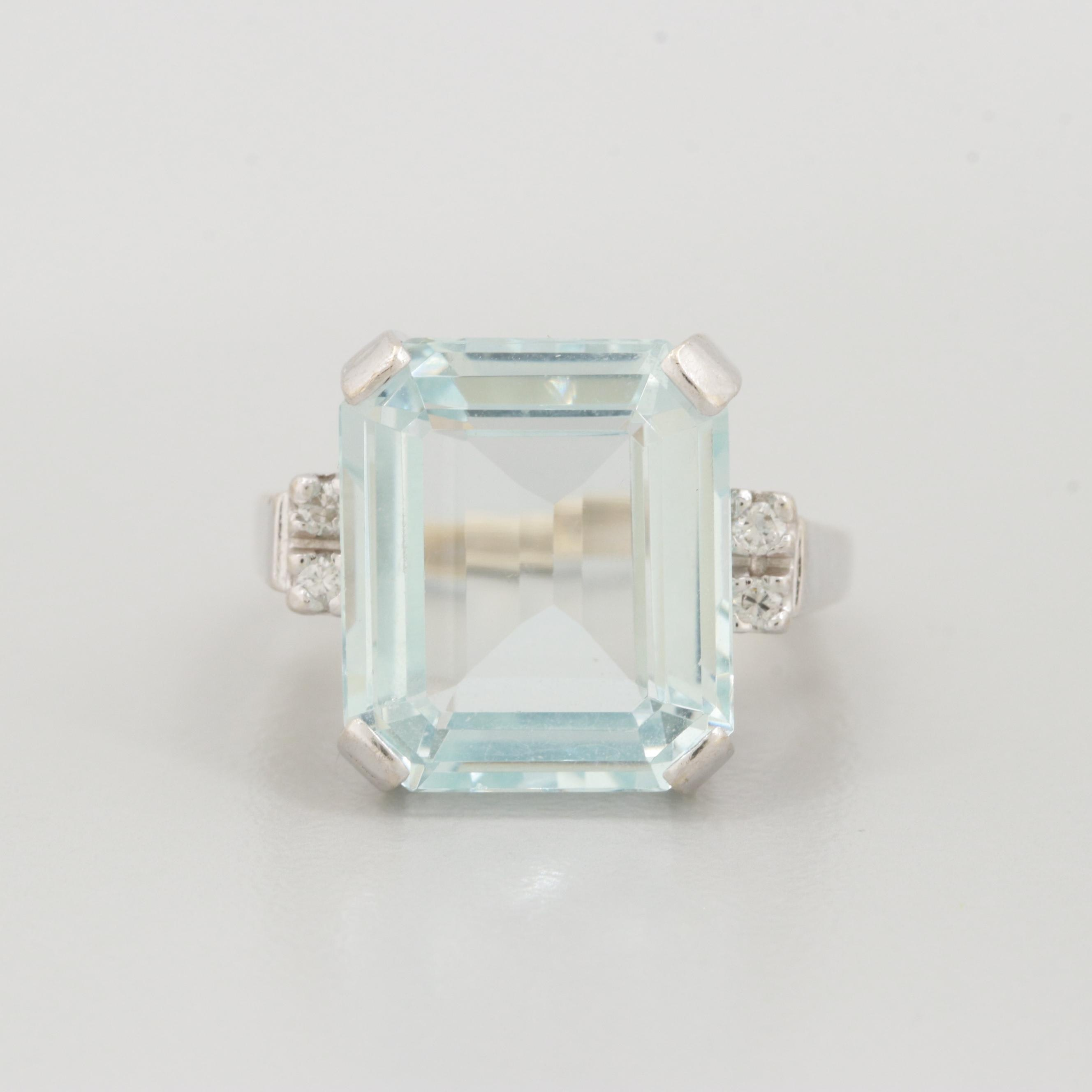 14K White Gold 7.61 CT Aquamarine and Diamond Ring