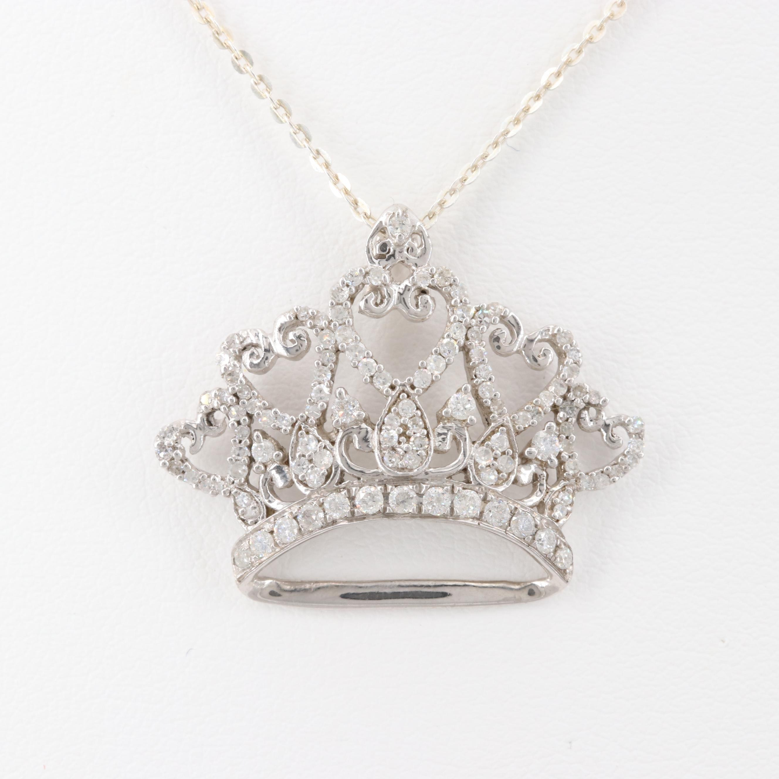 Sterling Silver Diamond Crown Pendant Necklace