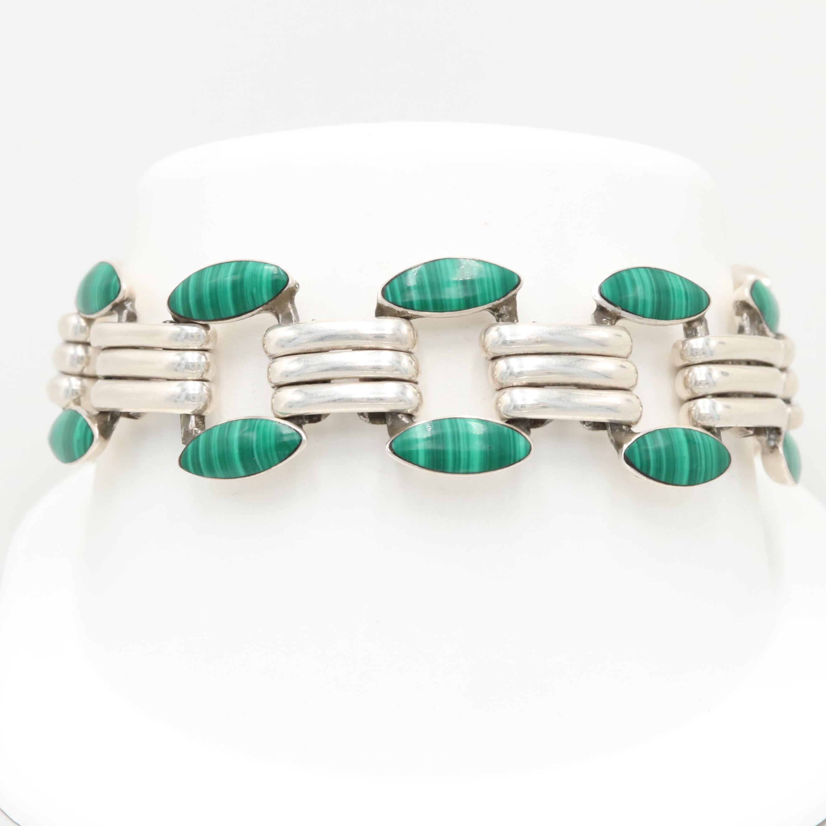 Taxco Mexico 950 Silver Imitation Malachite Bracelet