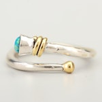 Sterling Silver 14K Yellow Gold Accented Synthetic Opal Ring